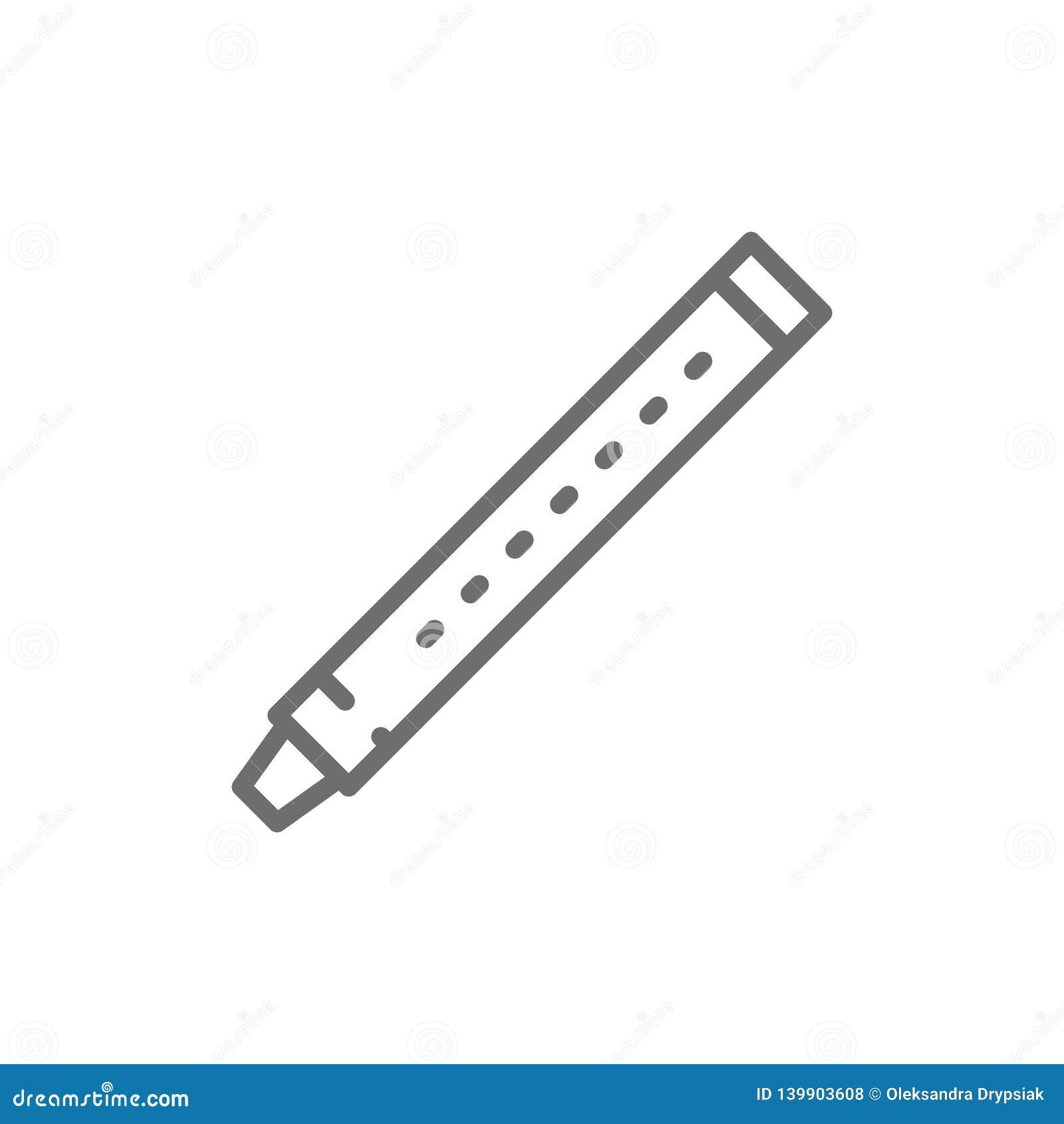 Flauta, sopilka, clarinete, línea icono del fagot