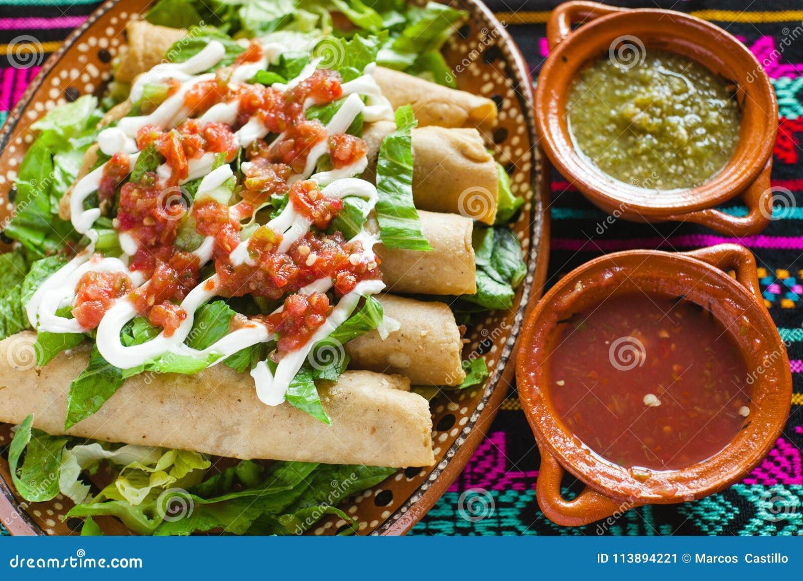 Flautas De Pollo Tacos And Salsa Homemade Food Mexican Mexico City ...