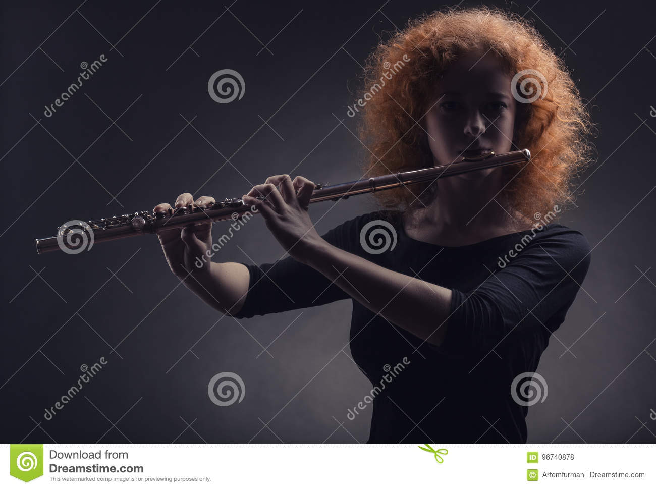 Flautist stock photo  Image of musical, alluring, education - 96740878