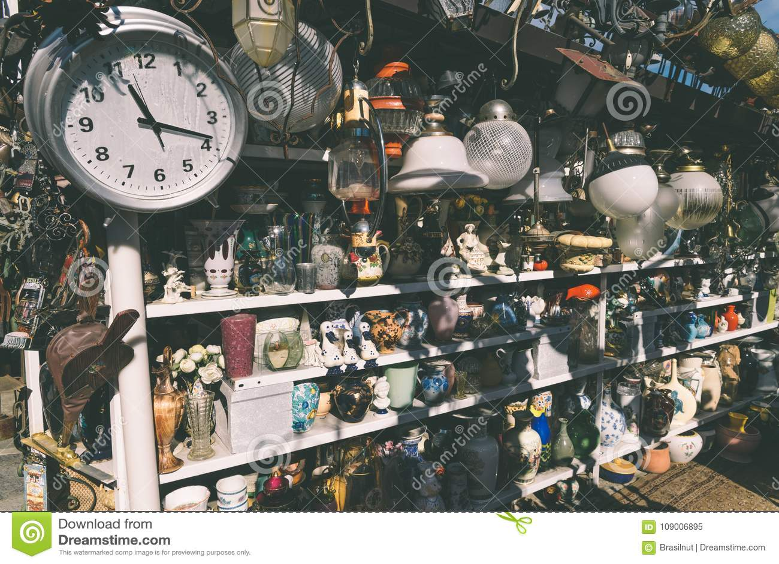 Flea market goods on display