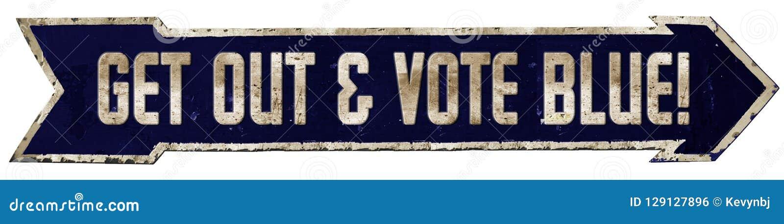 Flecha azul de la muestra de Demócrata del voto