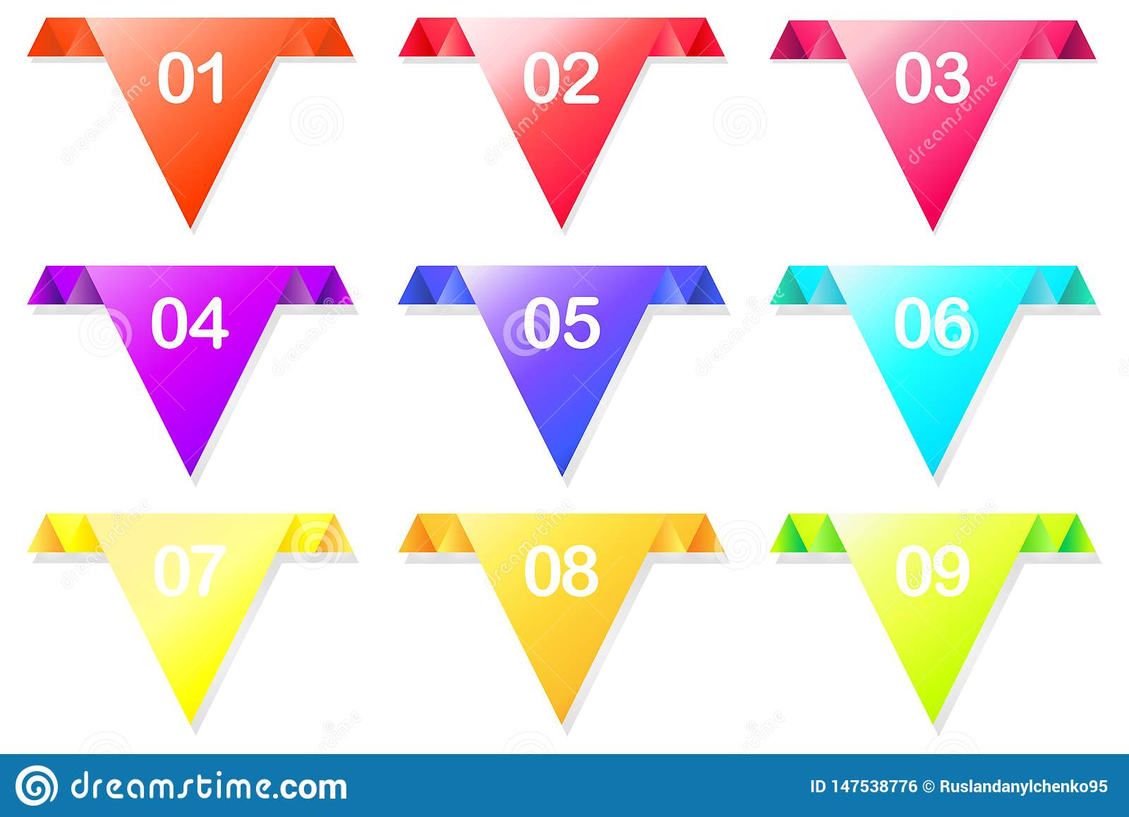 Flecha colorida del vector con los colores coloridos, brillantes, señalando en una dirección para los sitios web, anuncios Ilustr