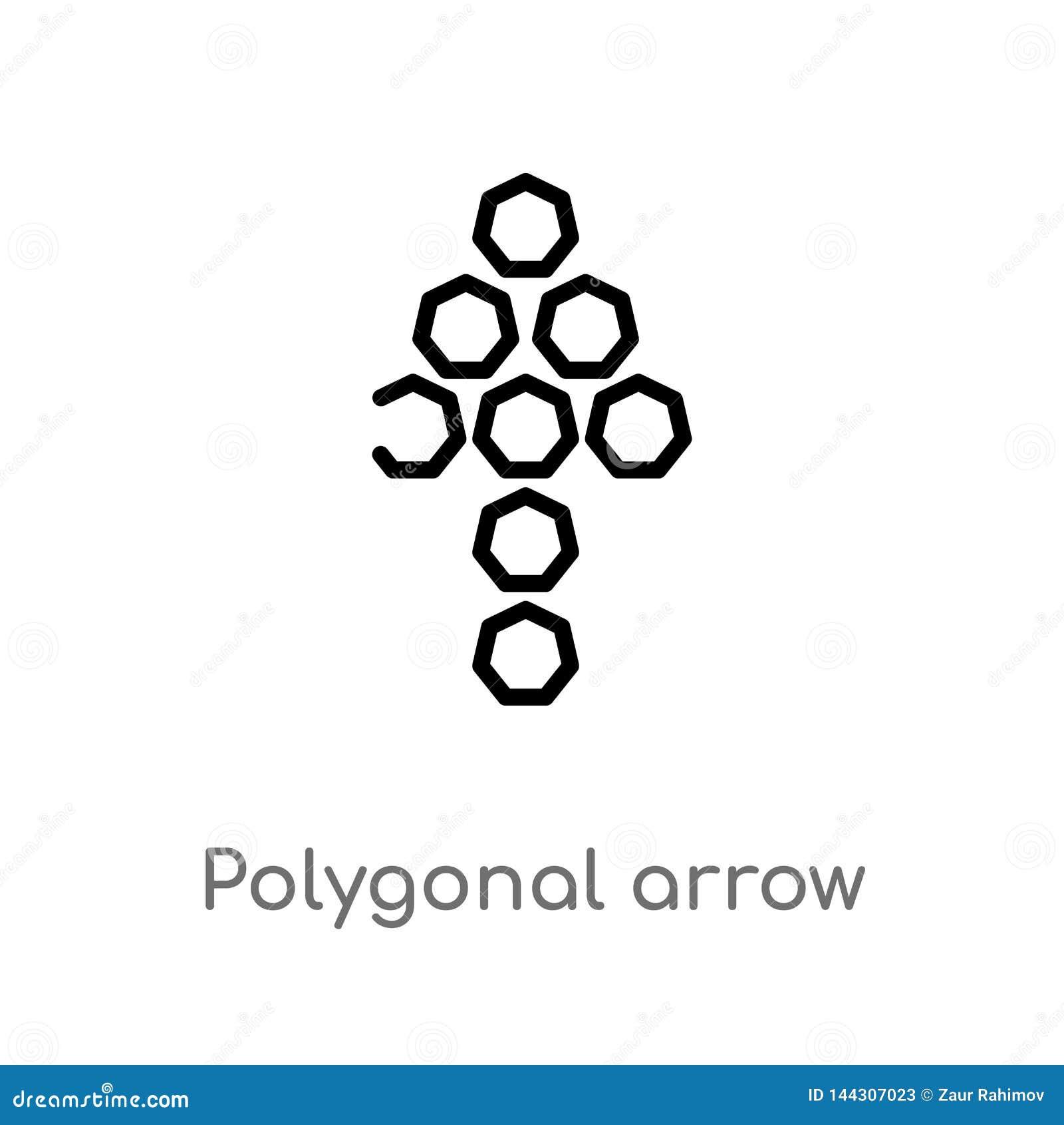 Flecha poligonal del esquema encima del icono del vector l?nea simple negra aislada ejemplo del elemento del concepto de la geome