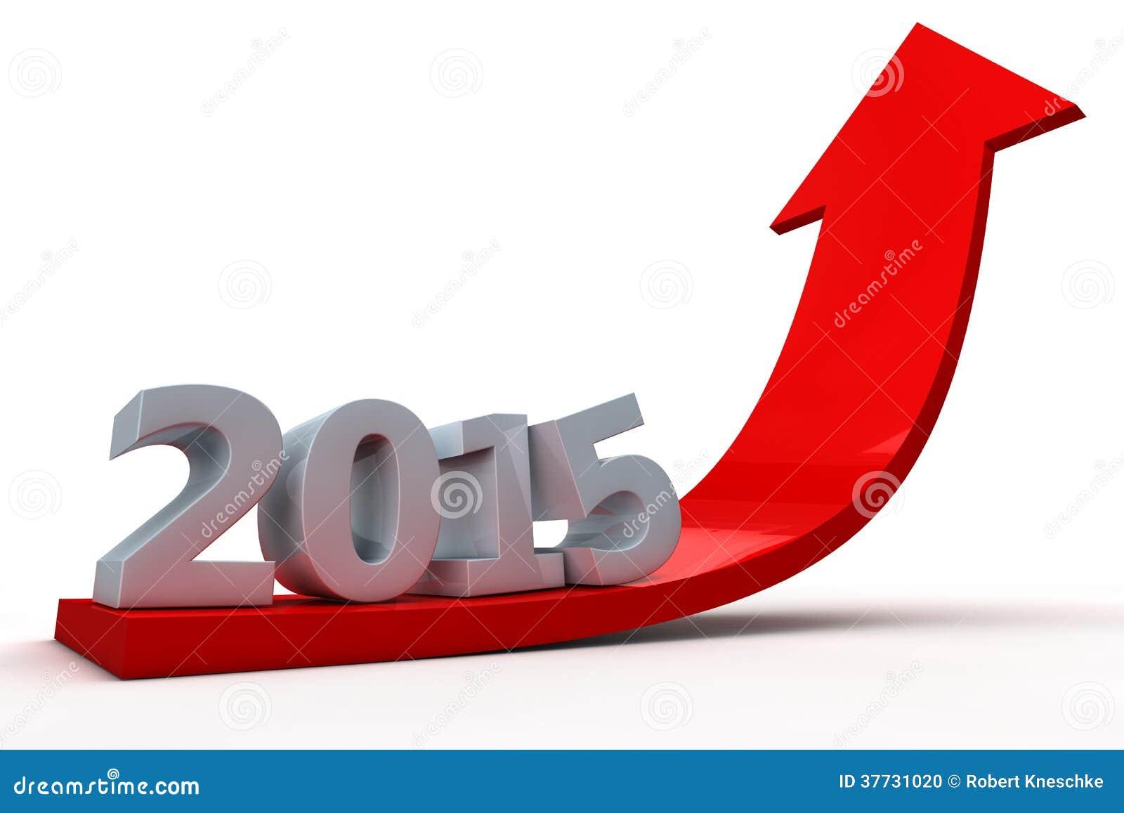 Flecha que muestra crecimiento en el año 2015