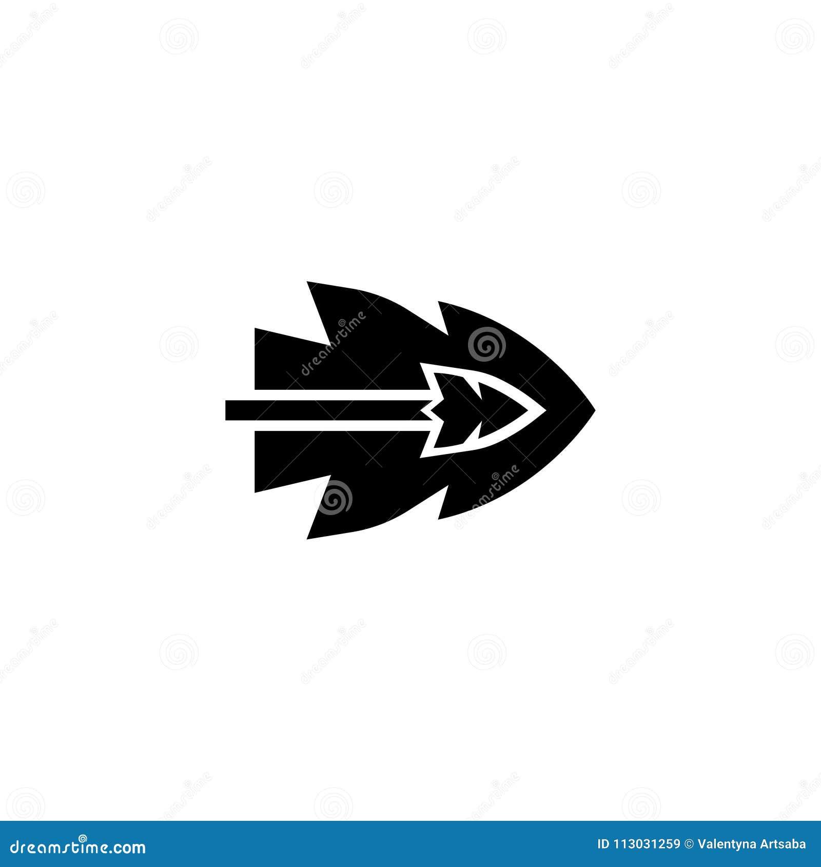 Flecha que vuela el icono plano del vector