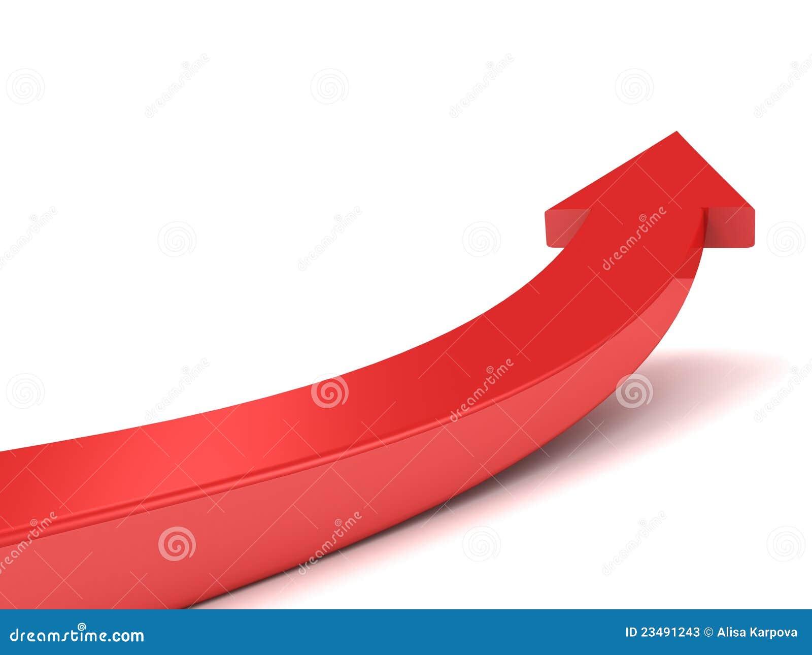 Flecha Roja Que Crece Alta Para Arriba En El Fondo Blanco