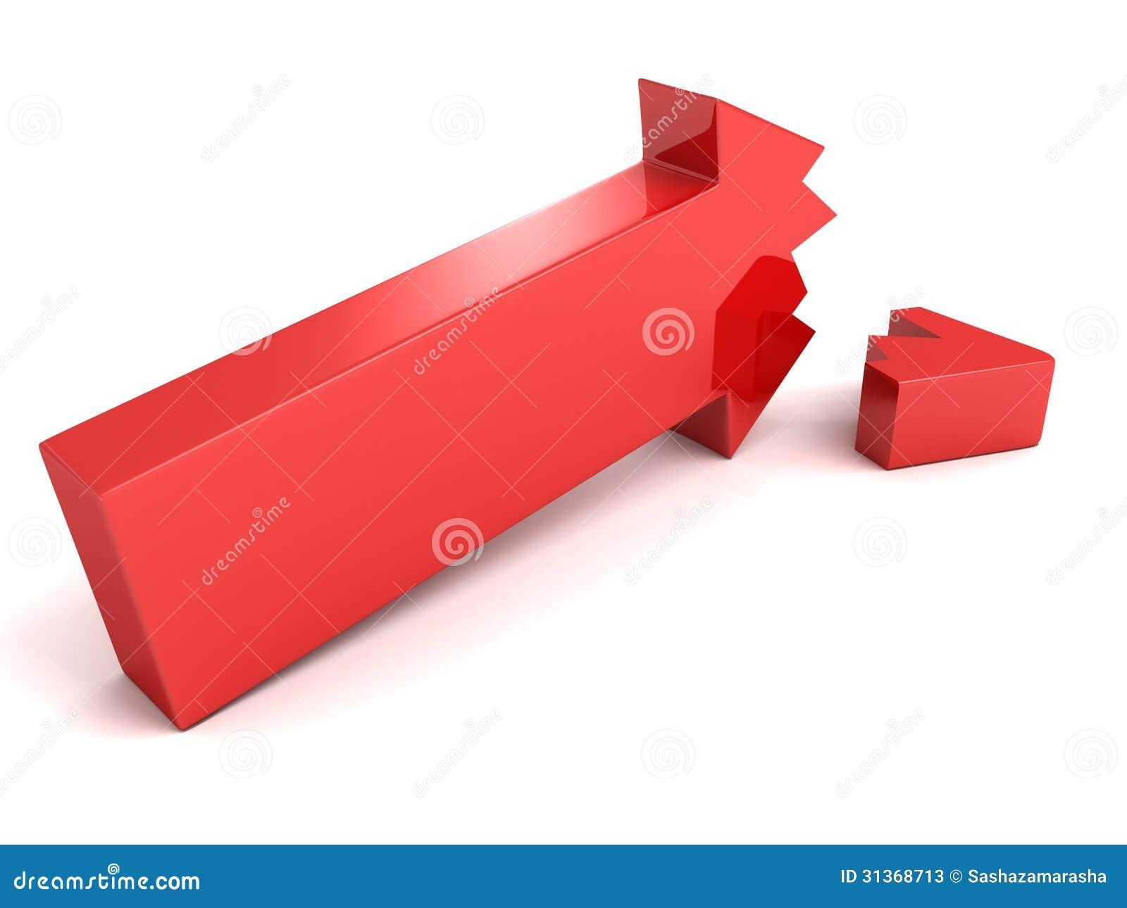 """Guauuuu....noticiones a """"tutiplein"""" Flecha-rota-roja-de-la-crisis-en-el-fondo-blanco-31368713"""