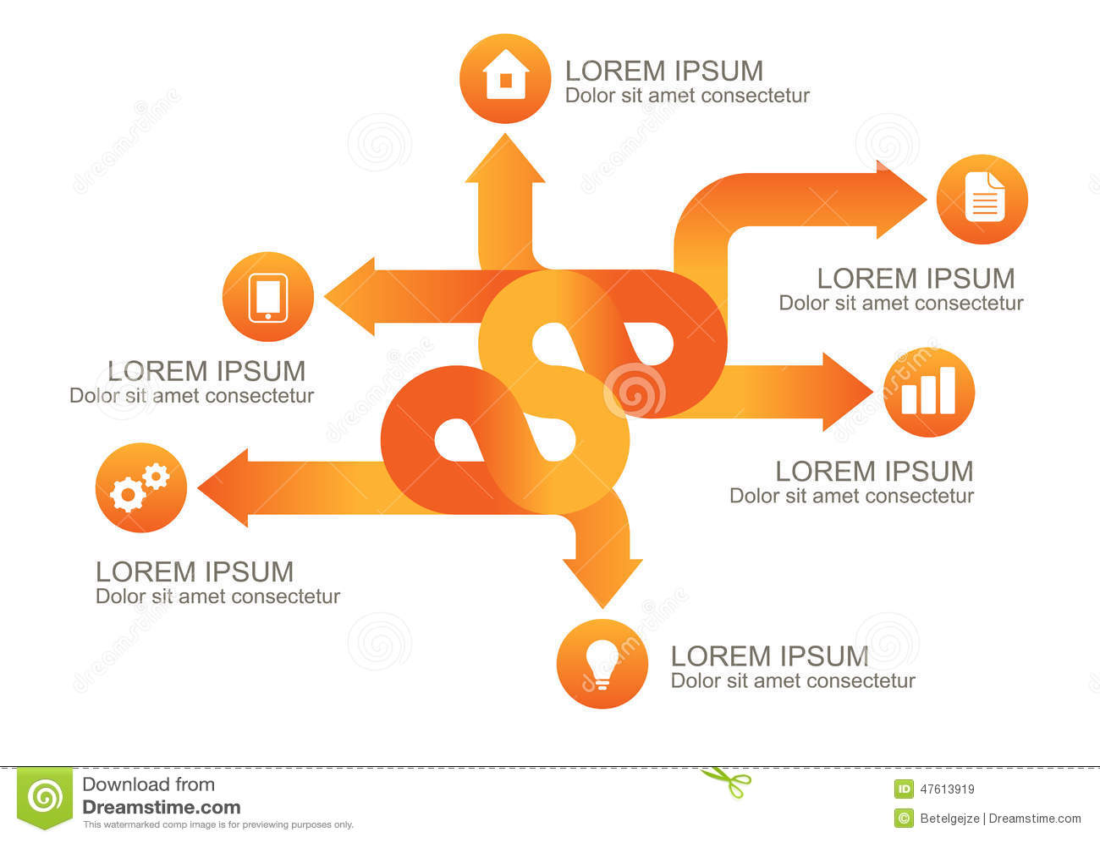 Flechas anaranjadas de Infographic con los iconos redondos, te del fondo del vector