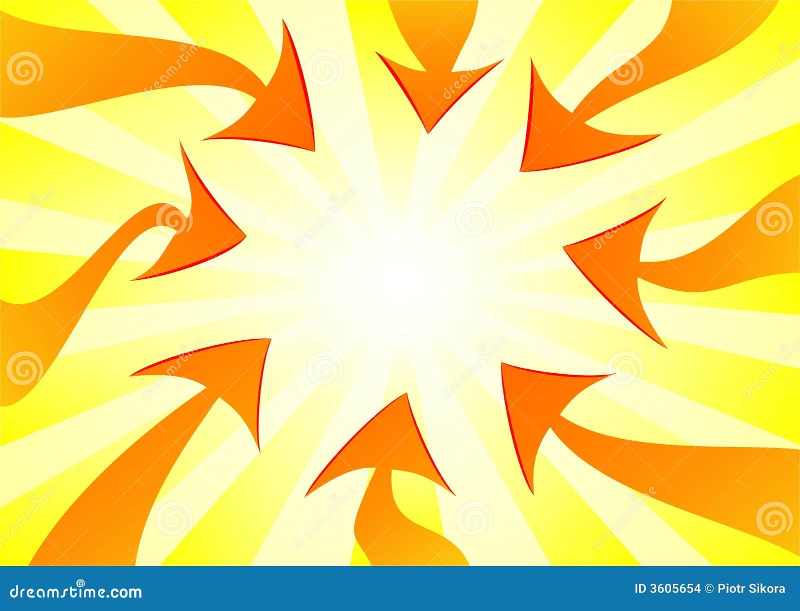 Flechas anaranjadas que señalan el centro