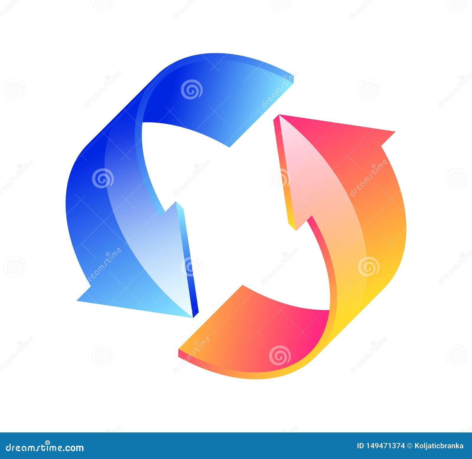 Flechas circulares 3D en un fondo blanco