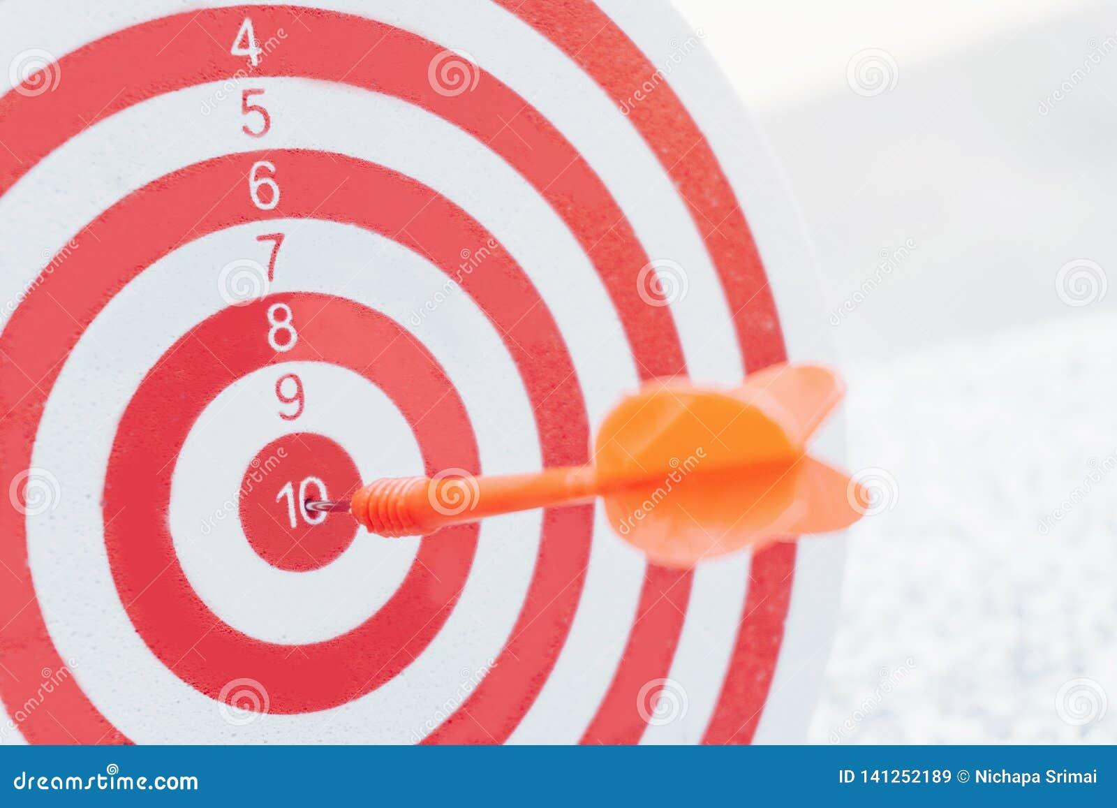 Flechas del concepto de la dirección en la blanco del tiro al arco del concepto del negocio de la blanco de la diana