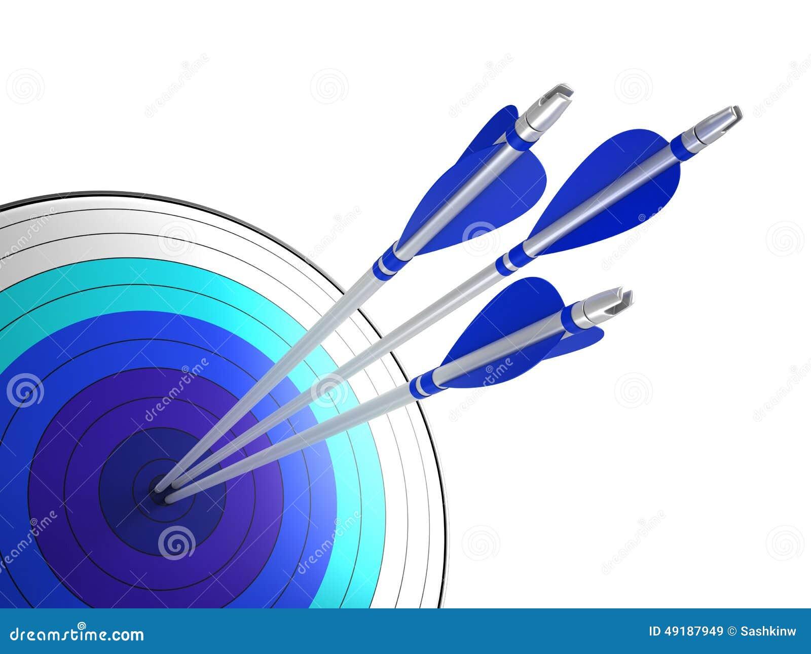 Flechas que golpean el centro de la blanco