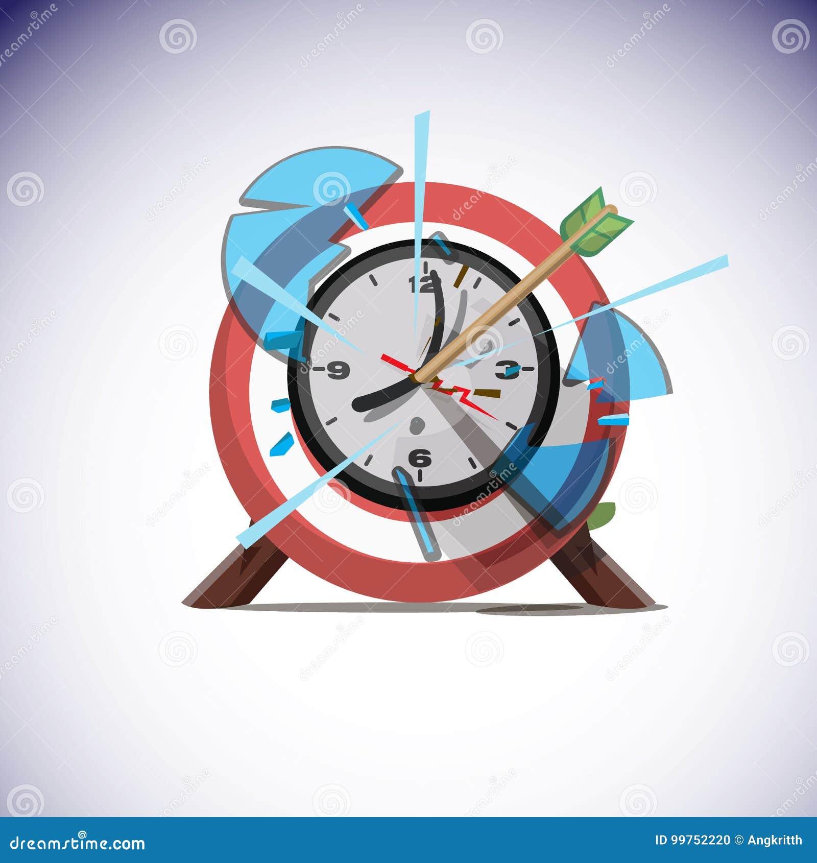 Flechas que golpean el centro del reloj de pared Concepto del tiempo del éxito -