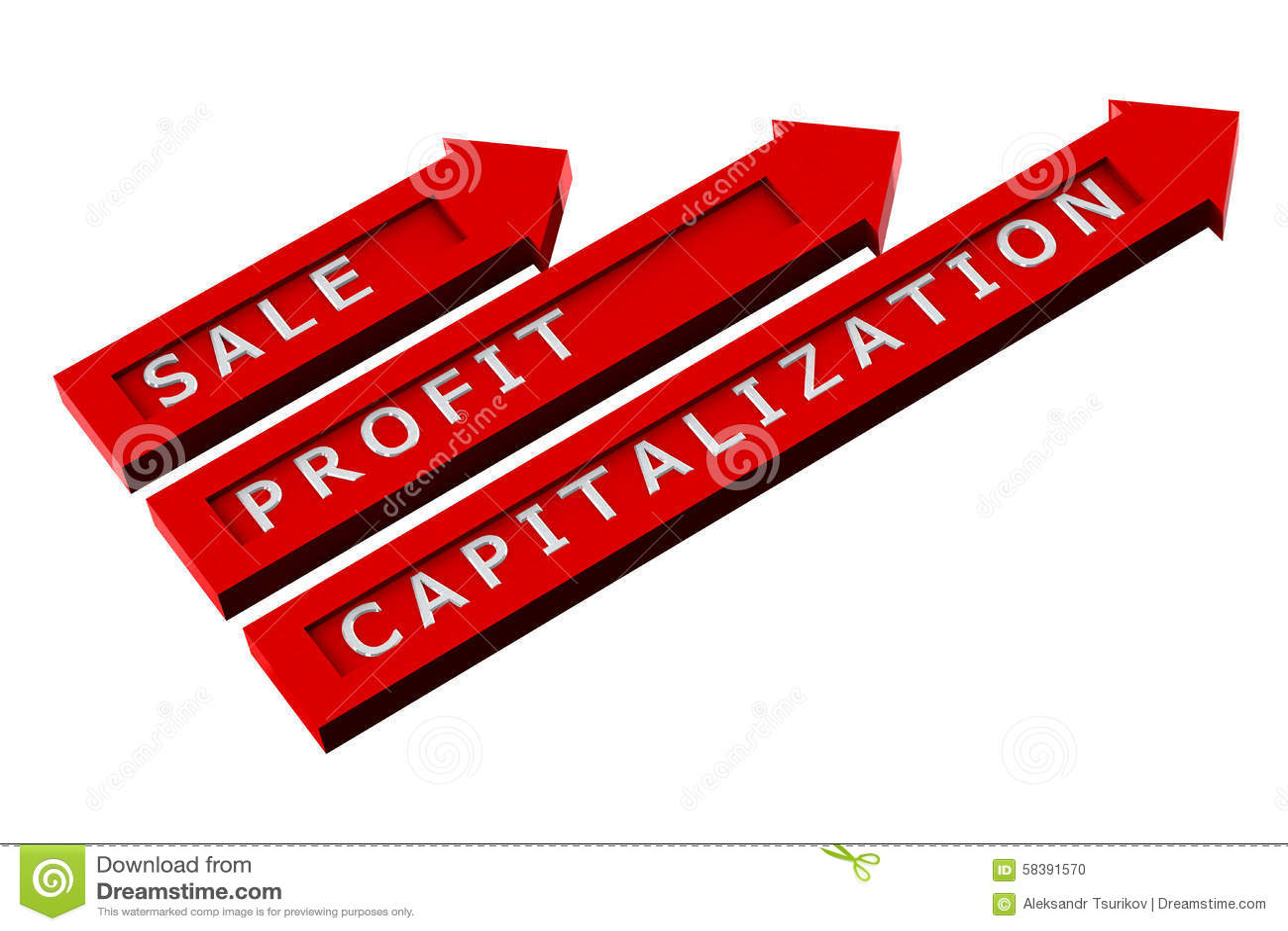 Flechas rojas con las palabras, venta, beneficio, capitalización
