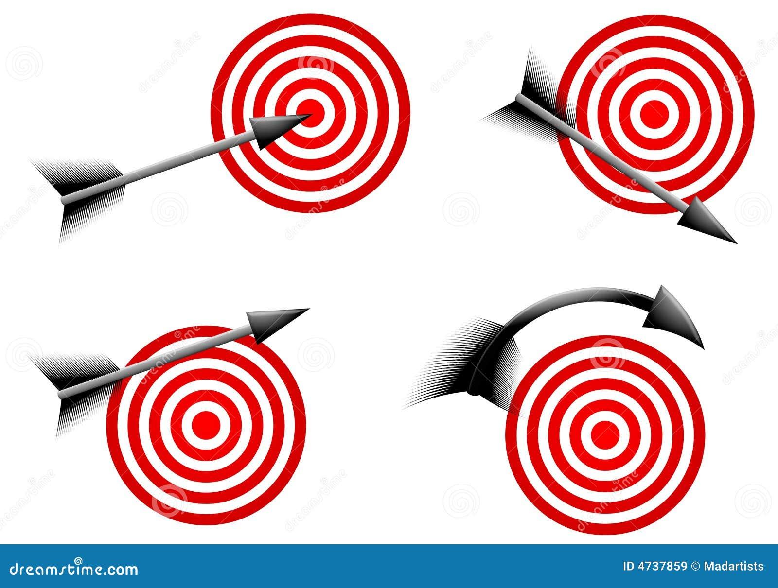 Flechas Y Blancos Rojas De La Diana Stock De Ilustración