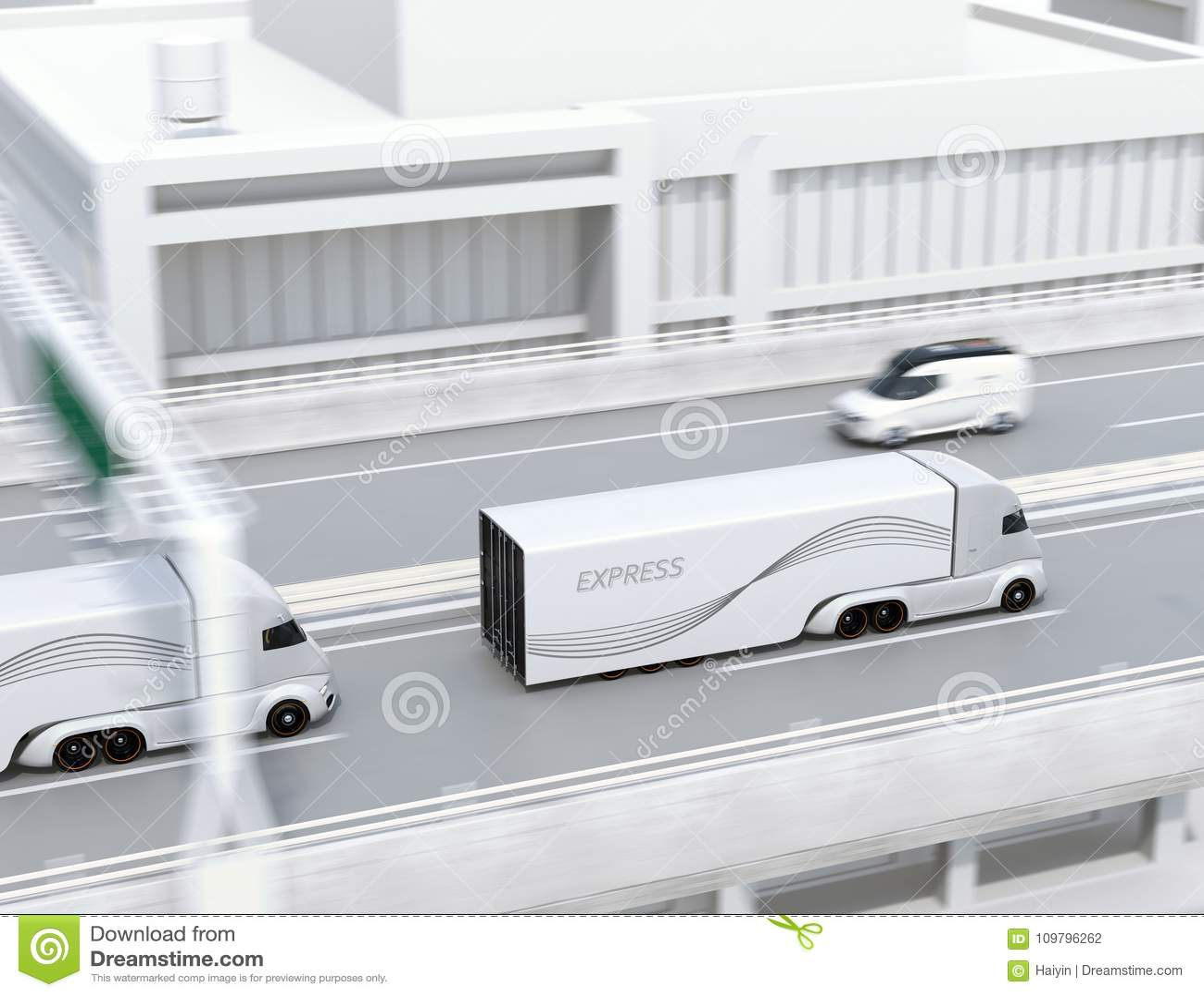 A fleet of self-driving electric semi trucks driving on highway