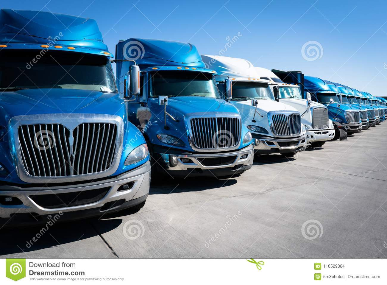 Fleet of semi truck 18 wheeler trucks