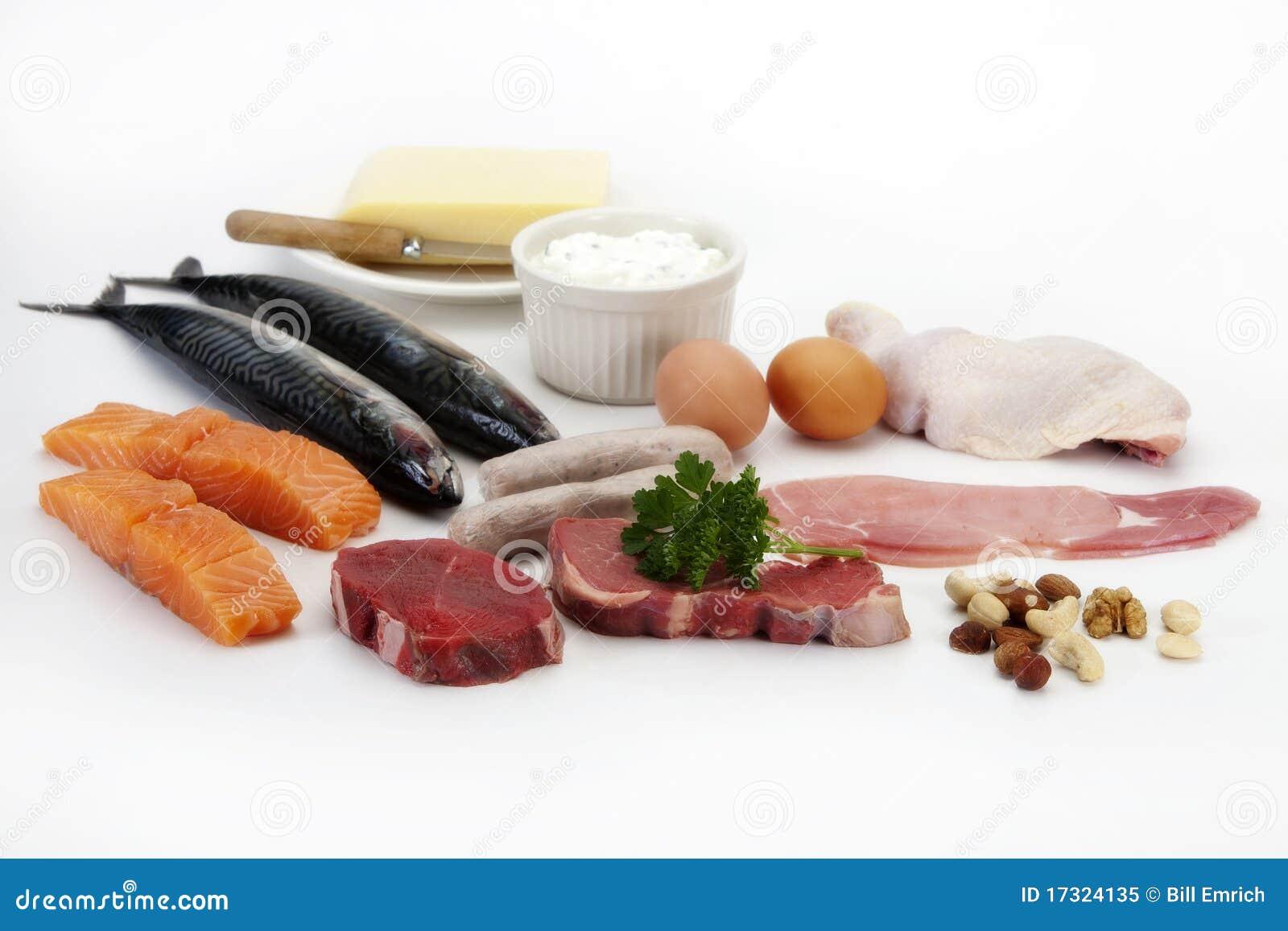 Fleisch, Fische, Eier u. Huhn