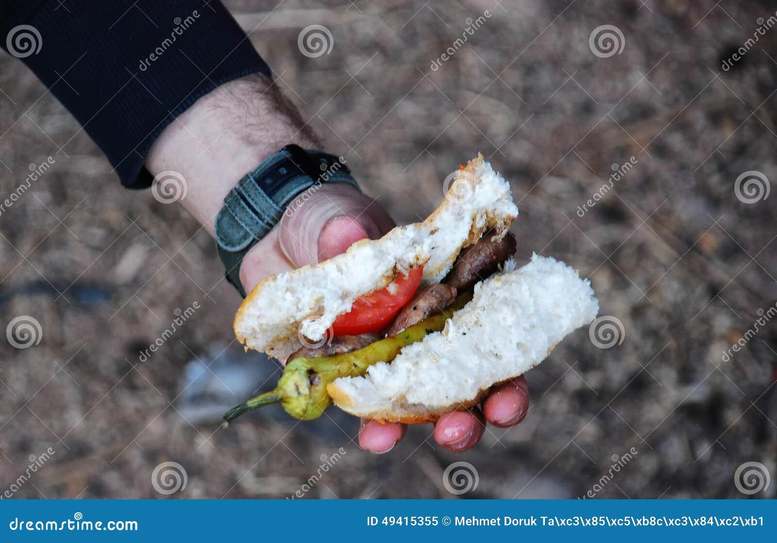 Download Fleischklöschensandwich In Der Hand Stockbild - Bild von zwiebel, hintergrund: 49415355