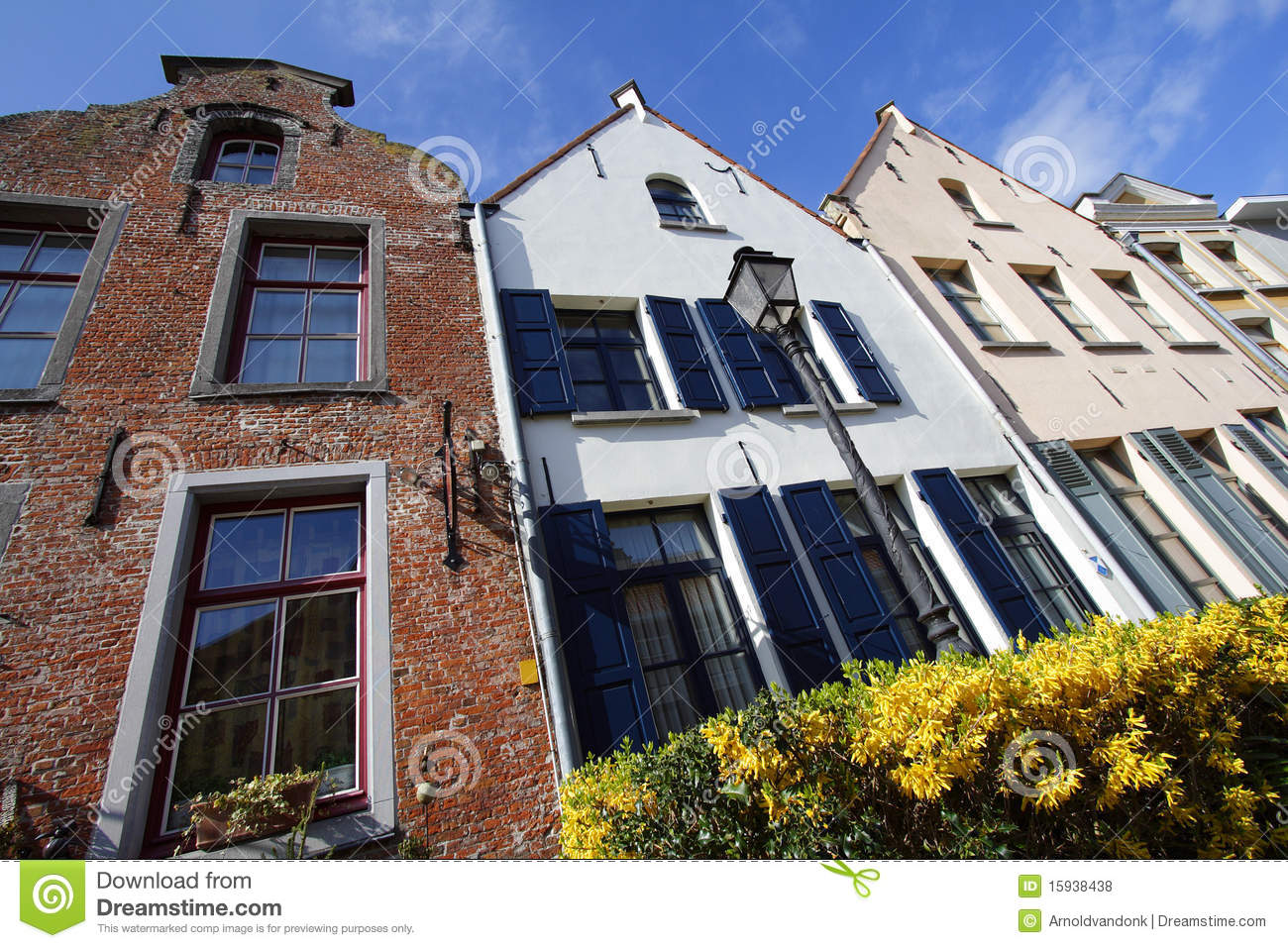 Download Flemish houses stock photo. Image of blue, four, lamppost - 15938438