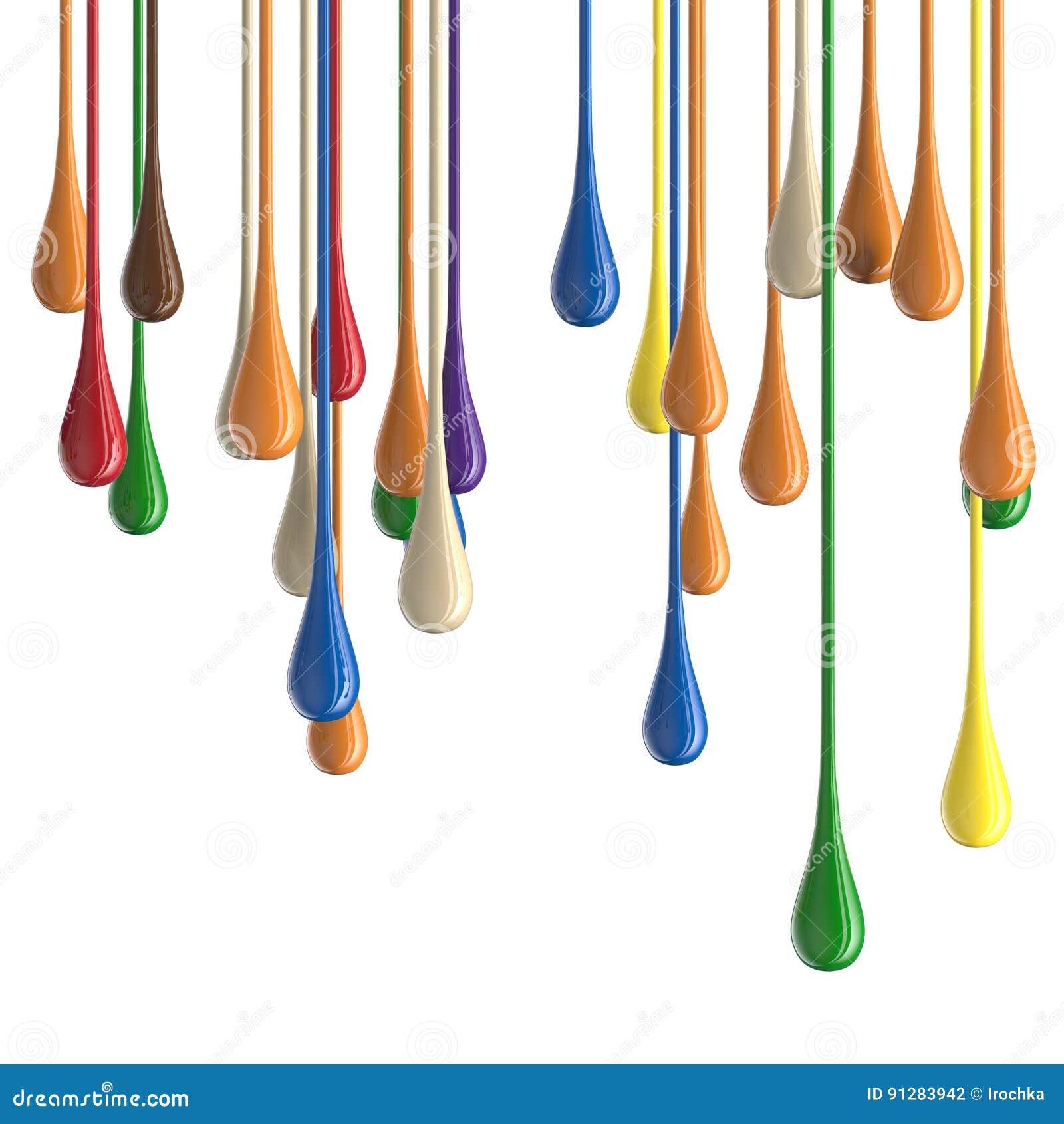 Flerfärgade färgrika glansiga droppklickar för målarfärg 3D