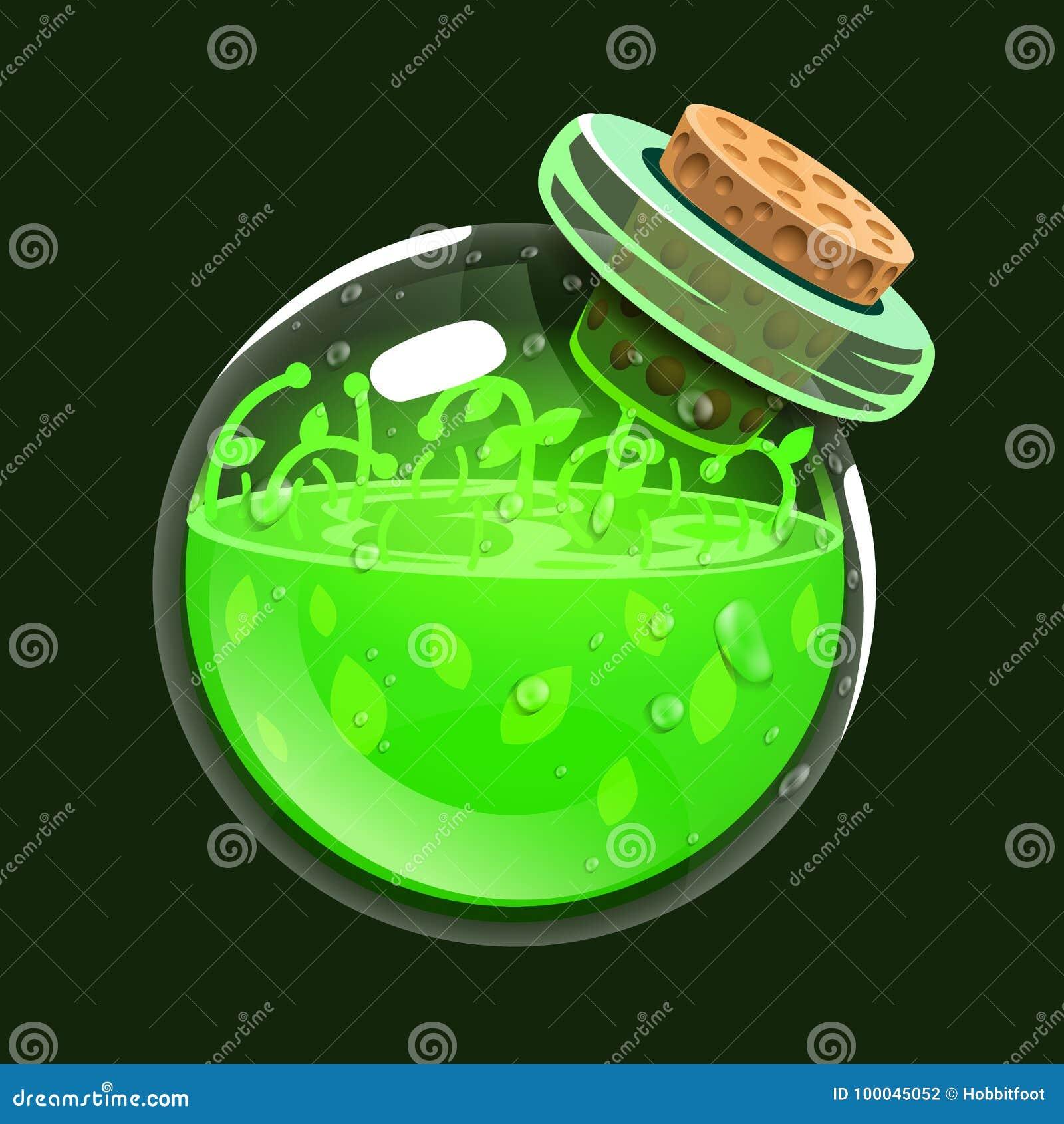 Fles het leven Spelpictogram van magisch elixir Interface voor rpg of match3-spel Gezondheid of aard Grote variant