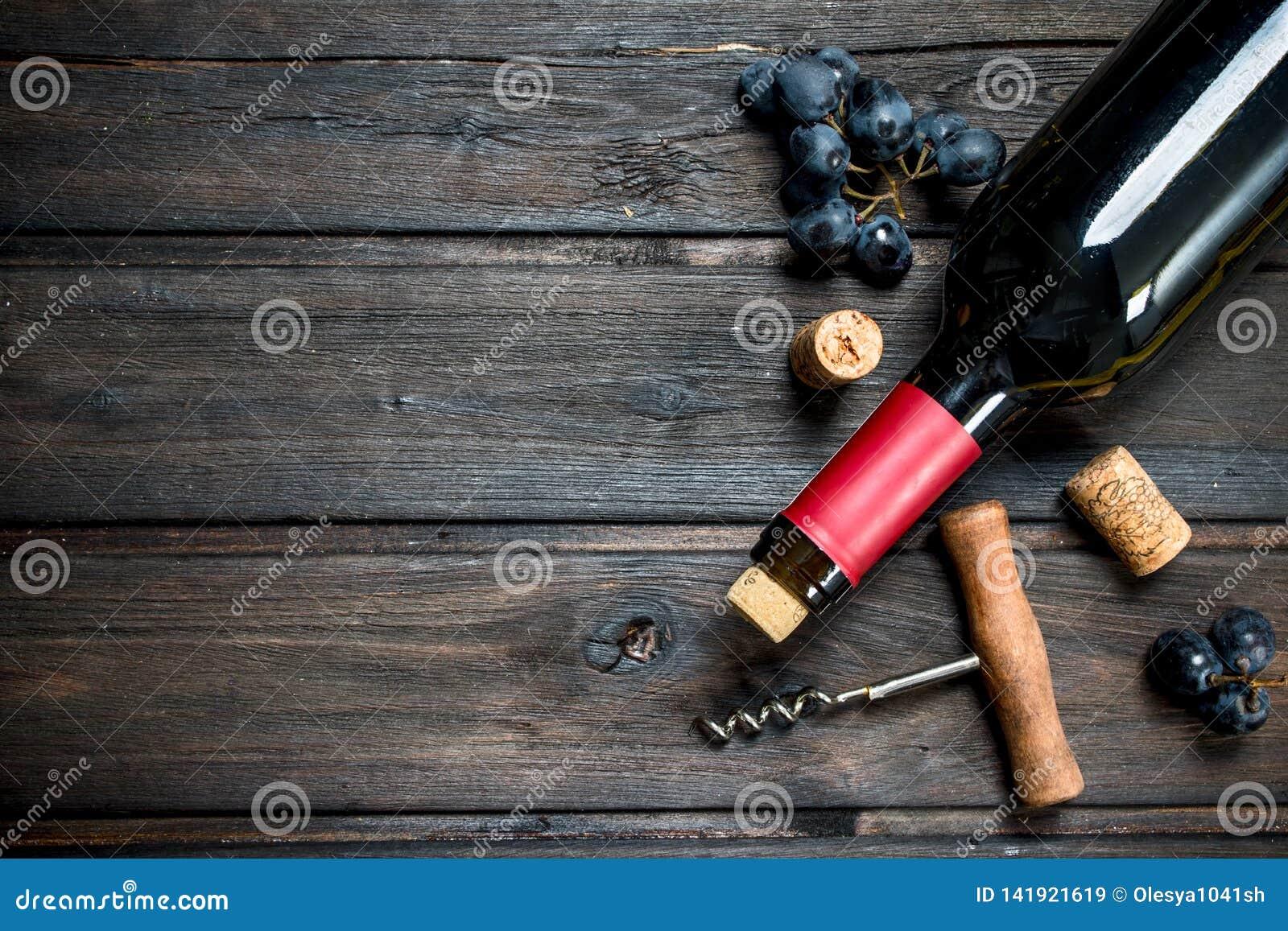 Fles rode wijn met druiven