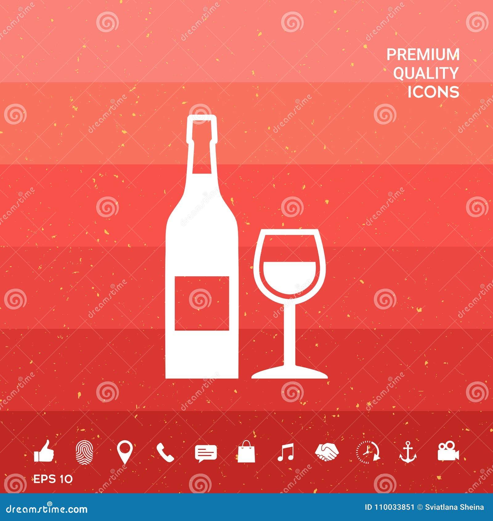 Fles van wijn en wijnglaspictogram