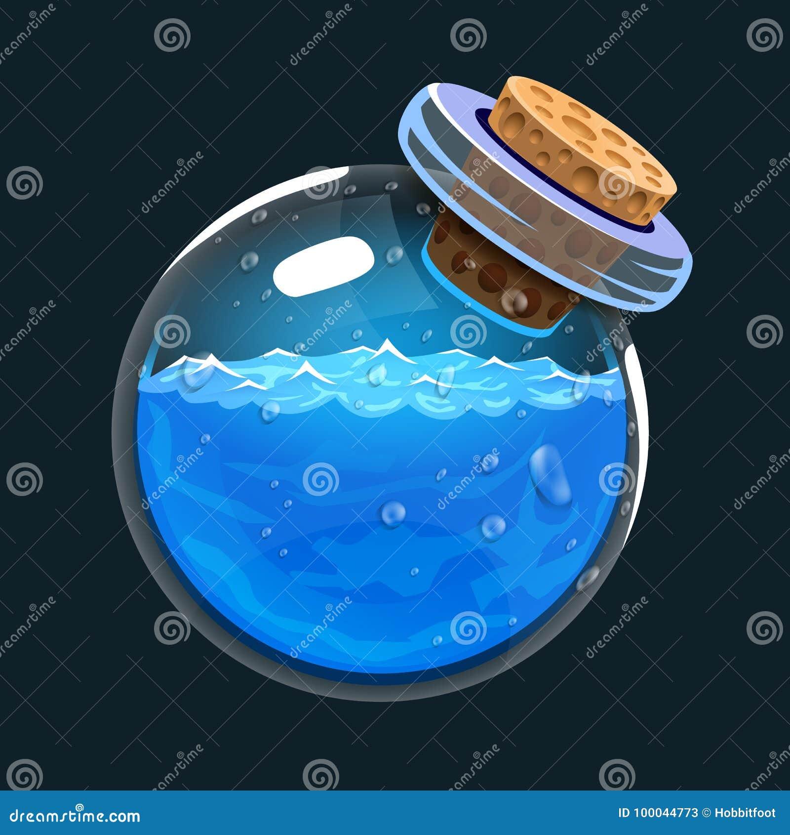 Fles water Spelpictogram van magisch elixir Interface voor rpg of match3-spel Water of mana Grote variant