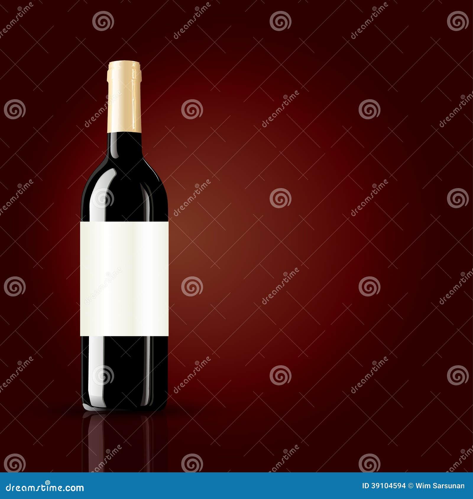 Fles wijn op rode achtergrond