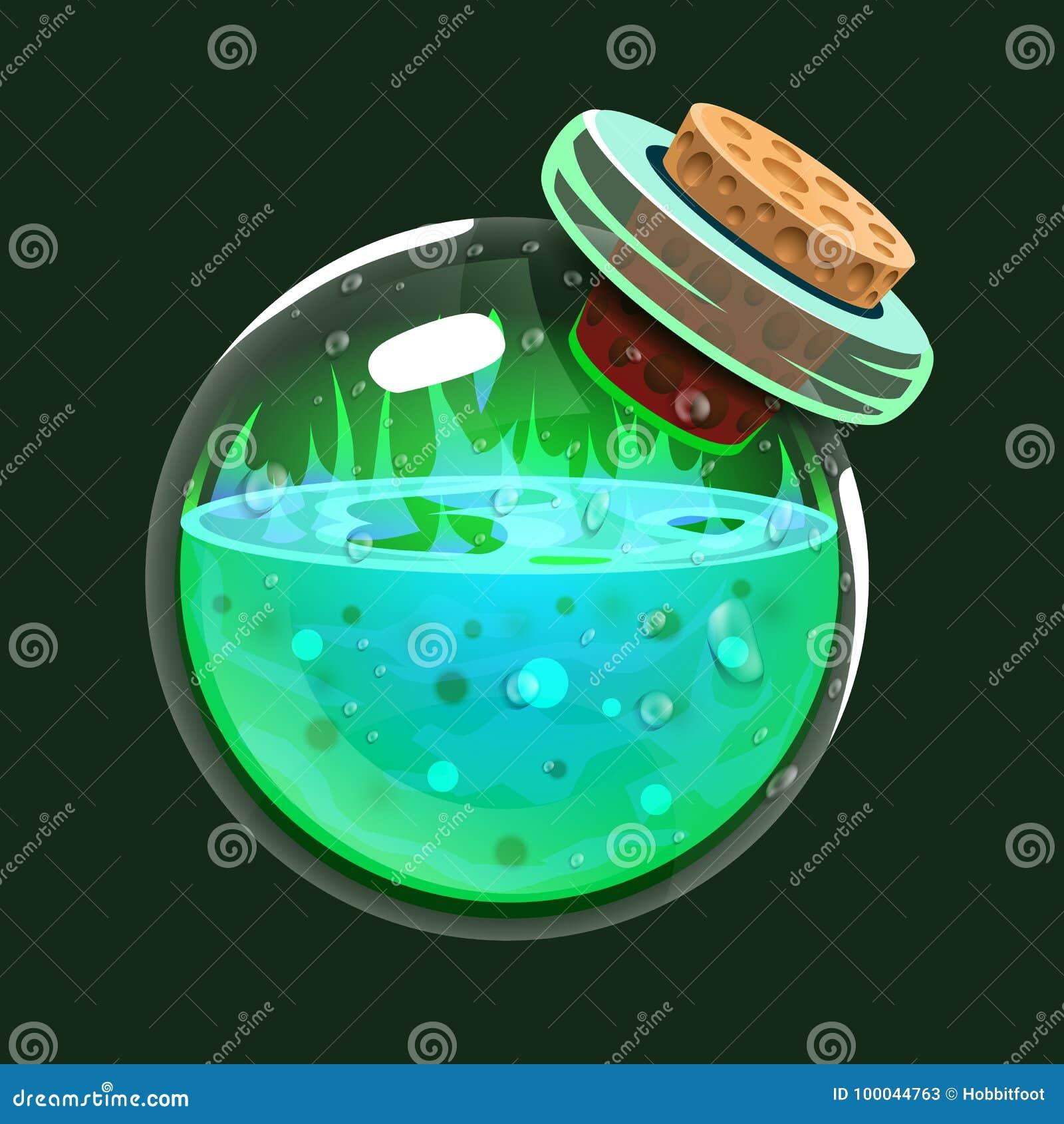 Fles zuur Spelpictogram van magisch elixir Interface voor rpg of match3-spel Grote variant