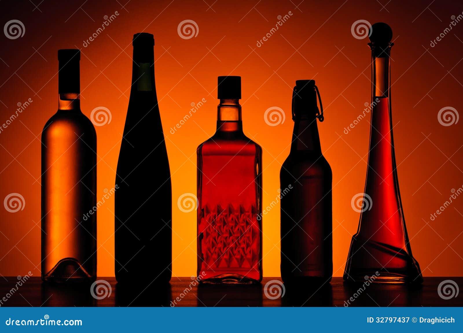 Flessen van alcoholische dranken