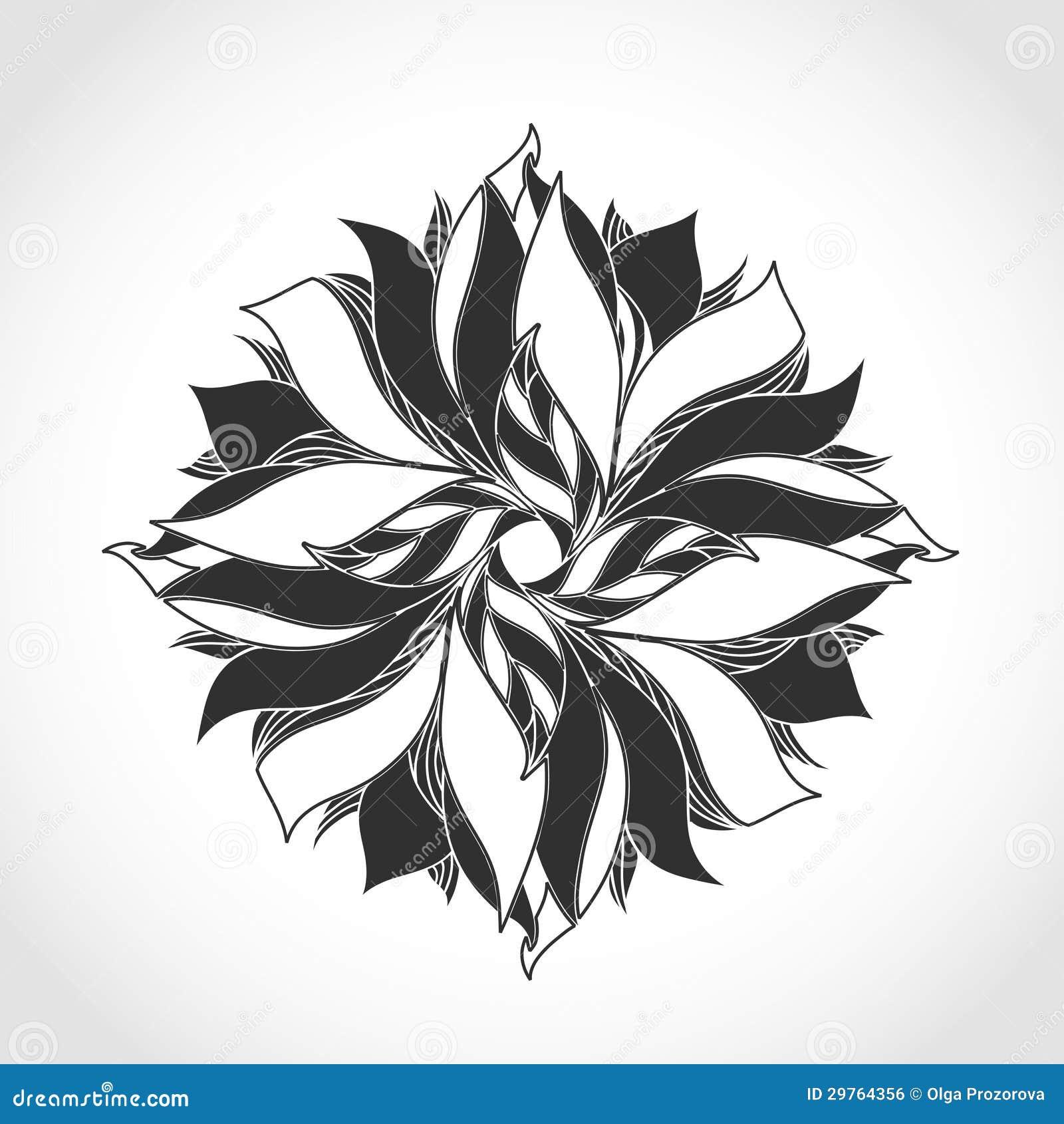 Fleur d 39 imagination mod le noir et blanc de tatouage image libre de droits image 29764356 - Coussin ethnique noir et blanc ...