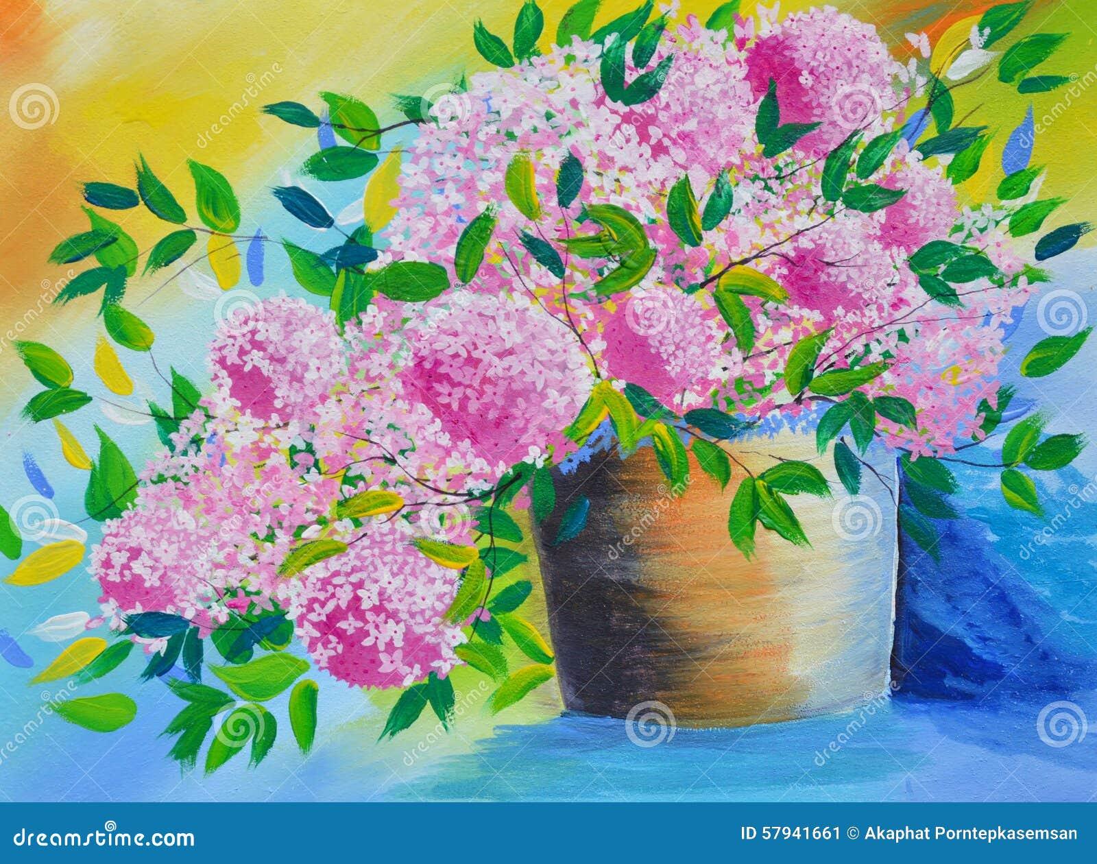 Fleur Dans La Peinture A L Huile De Pot Sur La Toile Image Stock