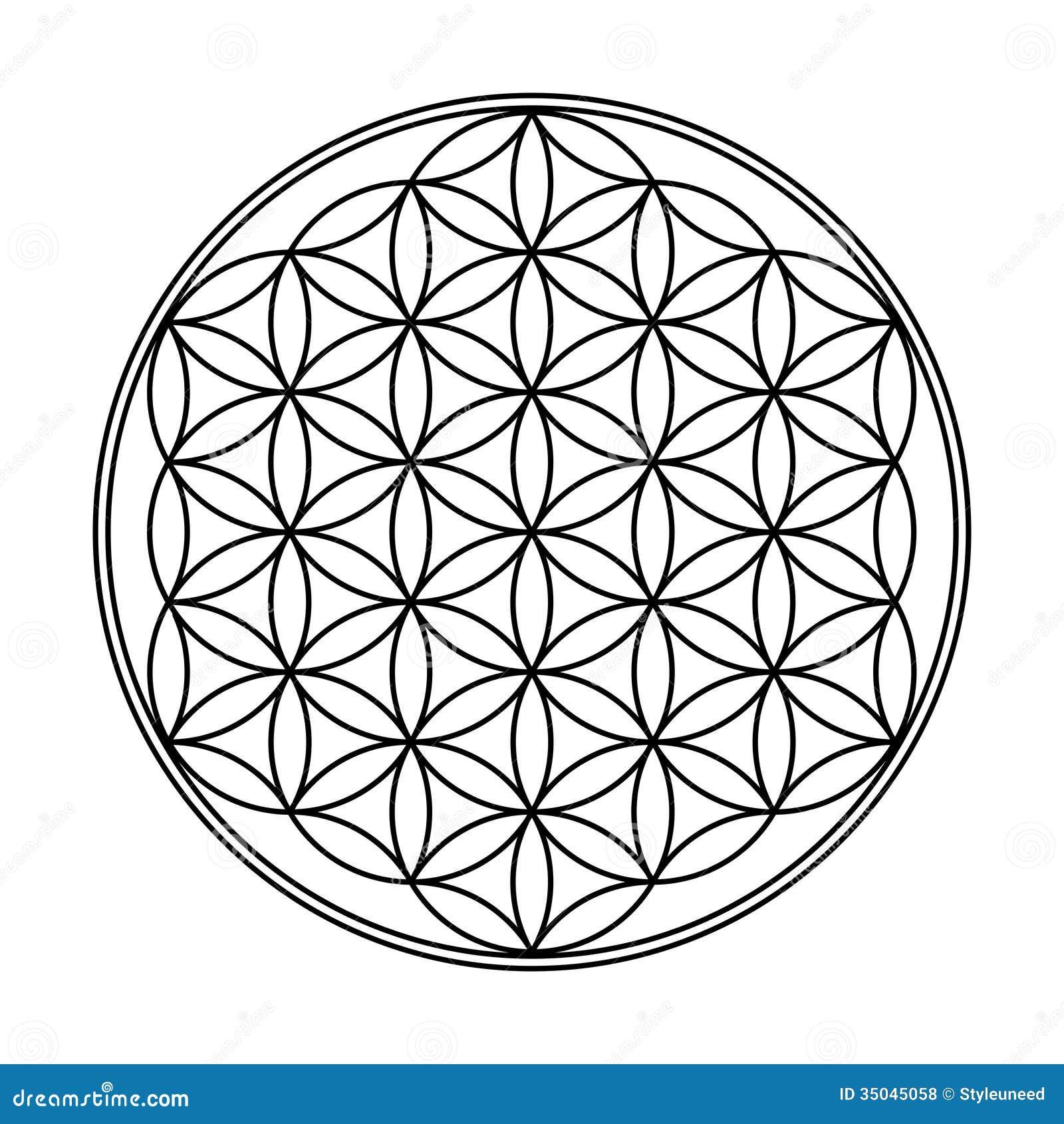 Fleur De Dessin Géométrique De La Vie Illustration Stock