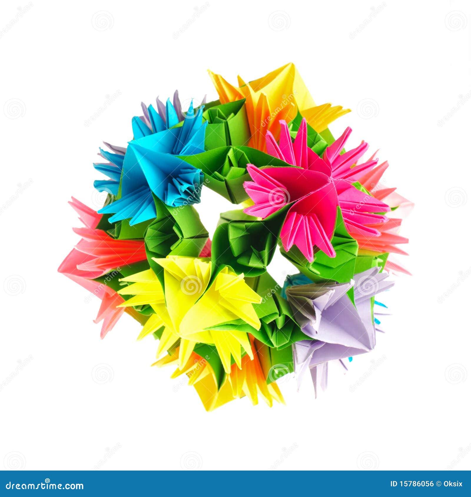 fleur de kusudama d 39 origami photo stock image du ciel. Black Bedroom Furniture Sets. Home Design Ideas