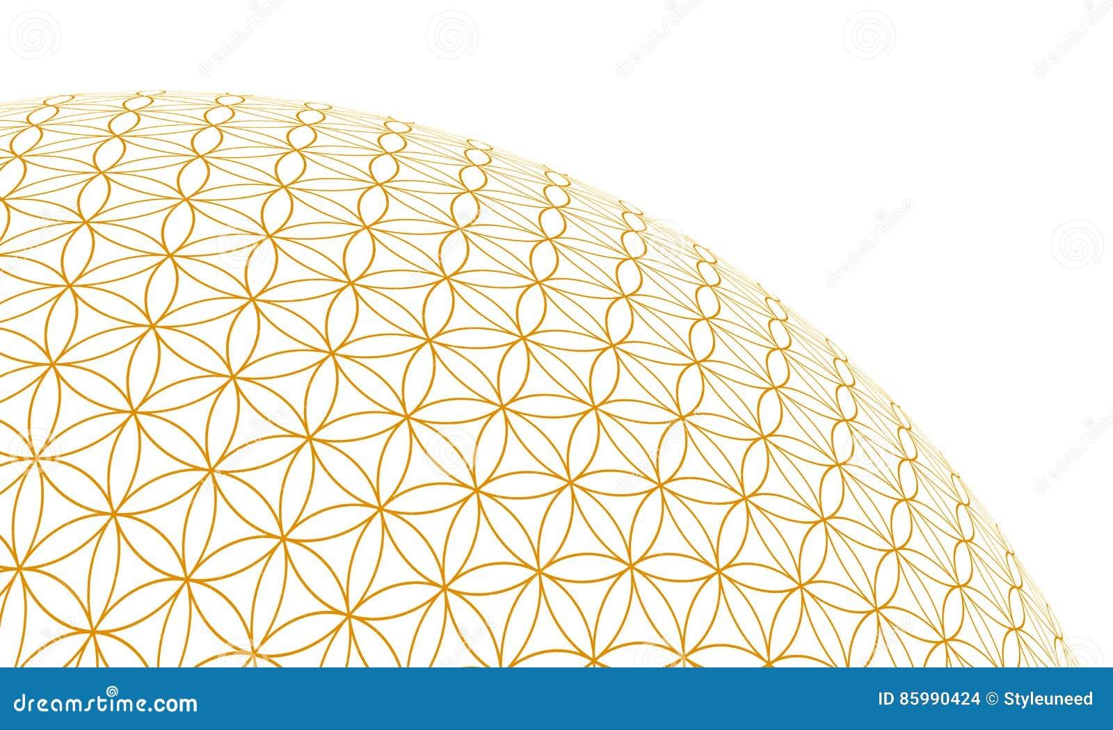Fleur De La Sphere 2 De L Or 3d De La Vie Illustration Stock
