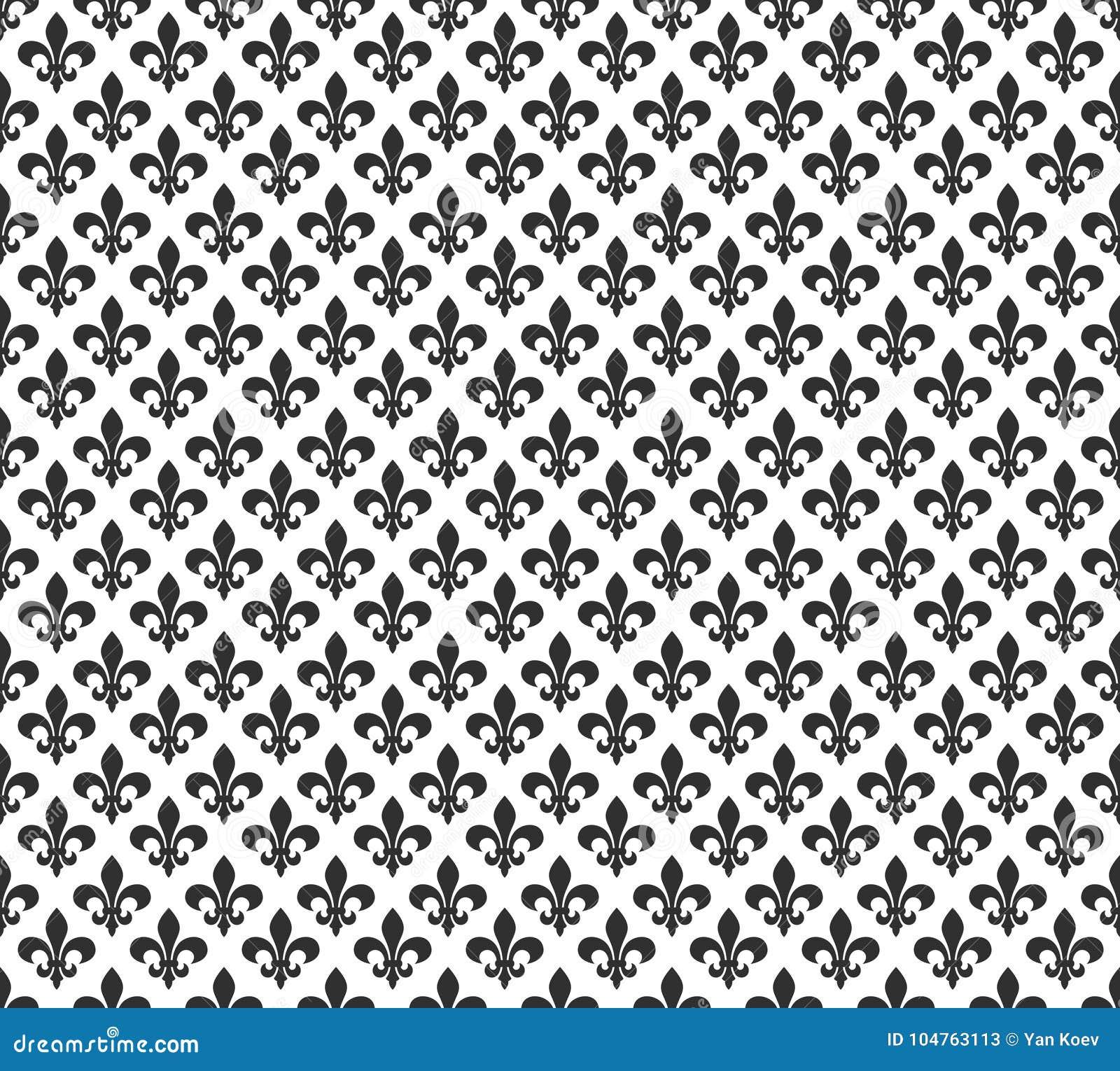 Fleur De Lis Black And White Seamless Pattern Background Stock