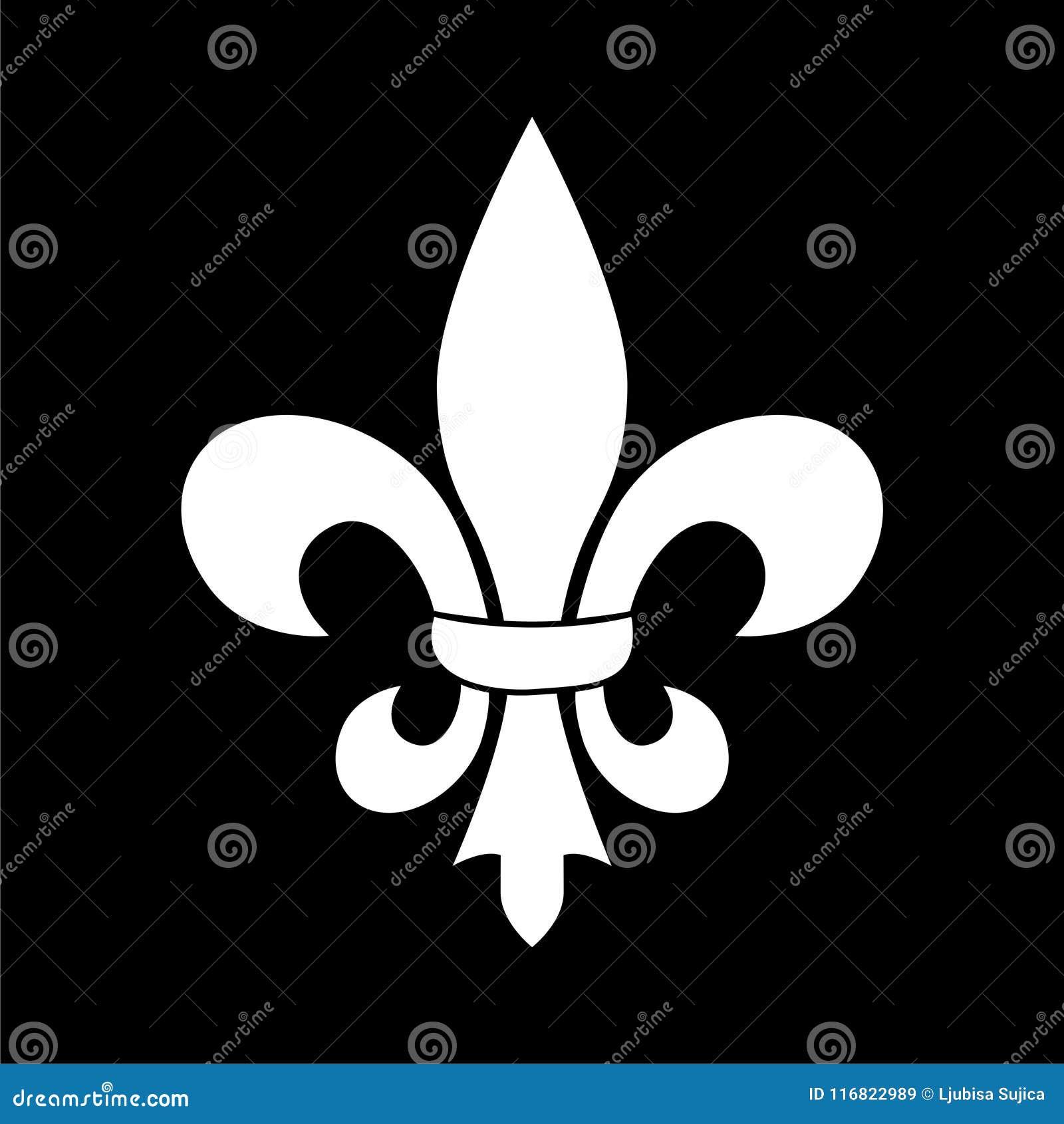 Fleur De Lis Icon Fleur De Lis Sign On Dark Background Stock Vector