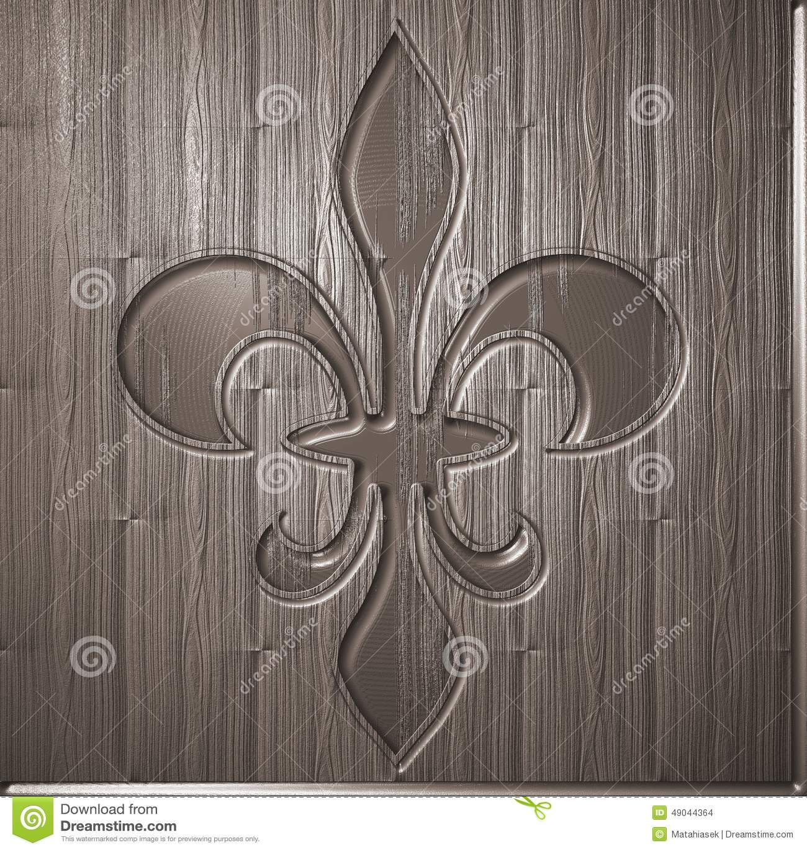 Fleur De Lis Relief On Wooden Background Stock Photo Image Of