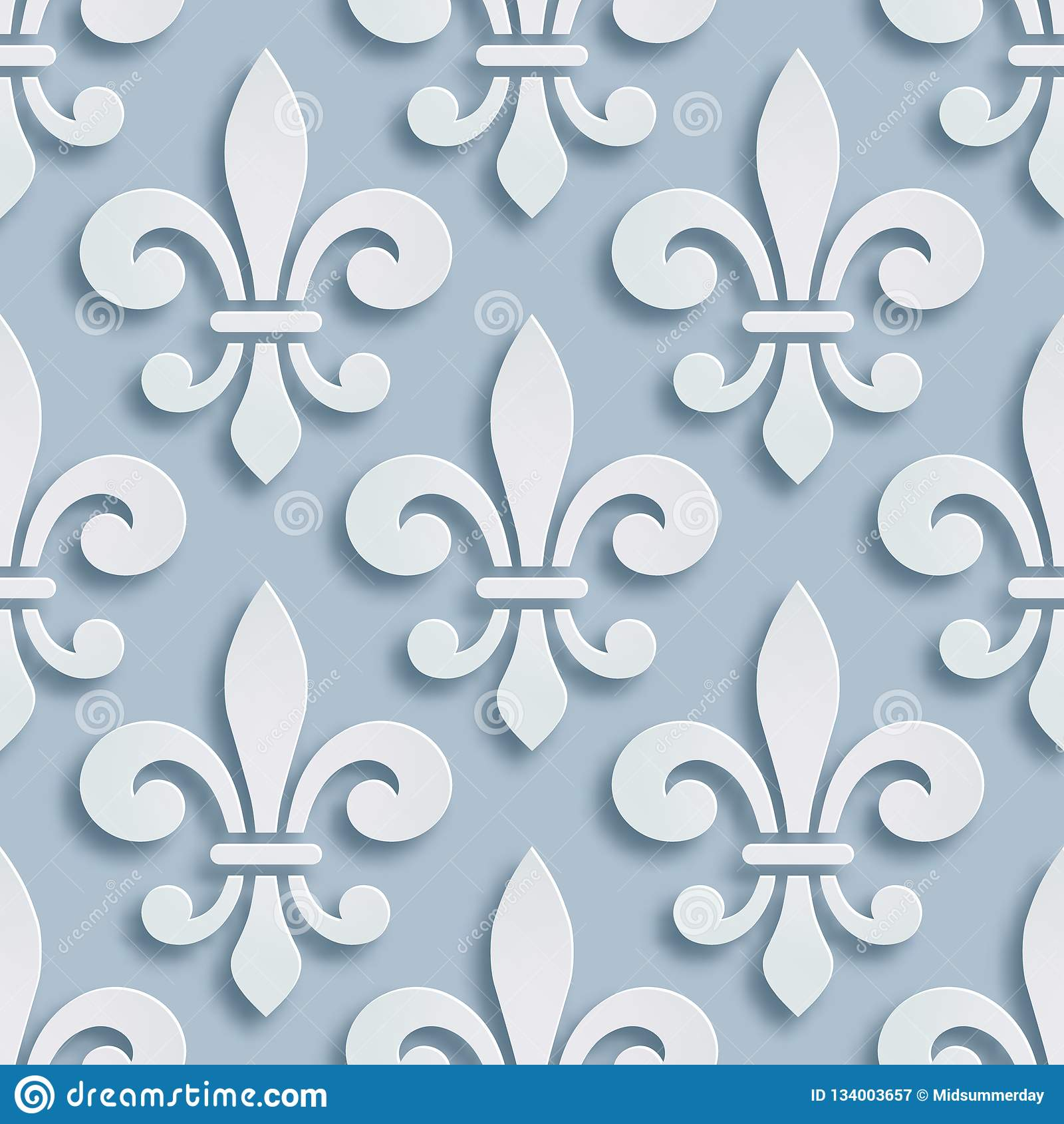 Fleur De Lis Seamless Background Symbol Of French Heraldry Paper