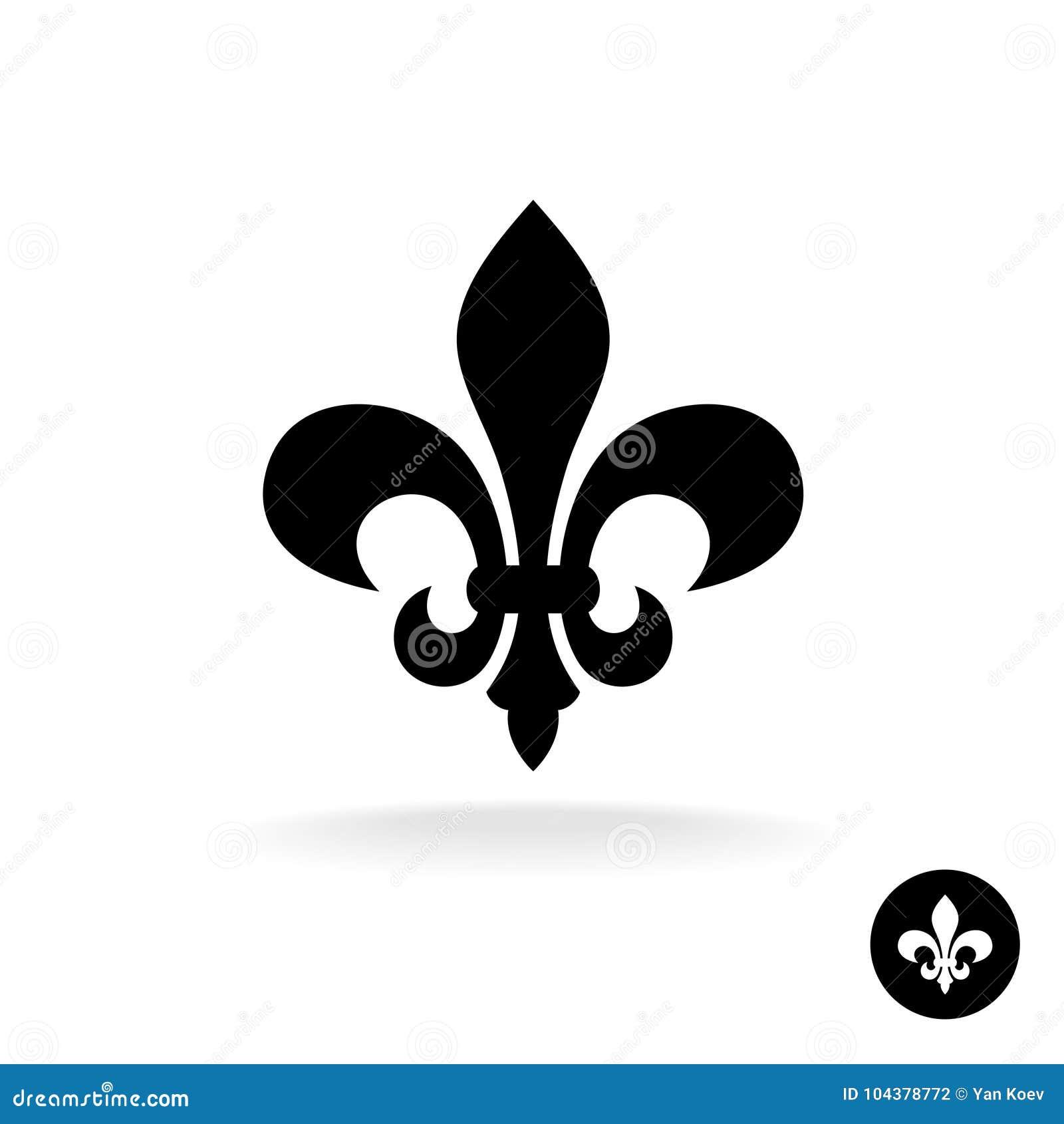 Fleur De Lis Simple Elegant Black Silhouette Logo Stock Vector