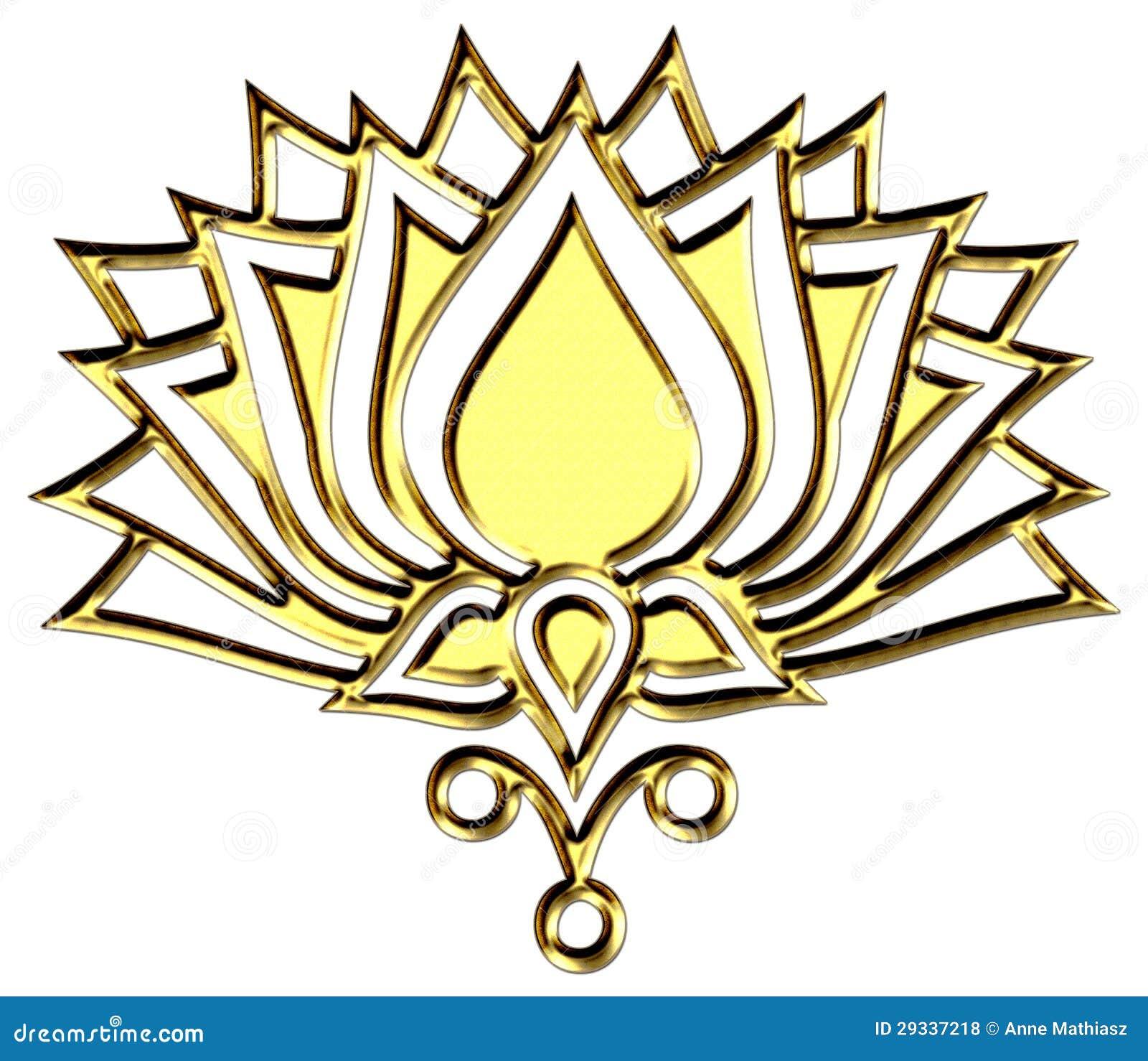 fleur de lotus d 39 or claircissement de symbole photos. Black Bedroom Furniture Sets. Home Design Ideas