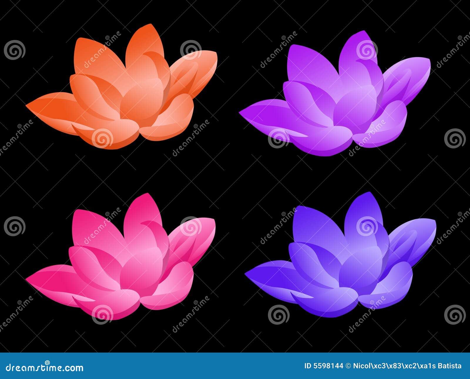 Fleur de lotus dans quatre couleurs illustration stock illustration du cartoon mod le 5598144 - Fleur de lotus bouddhisme ...