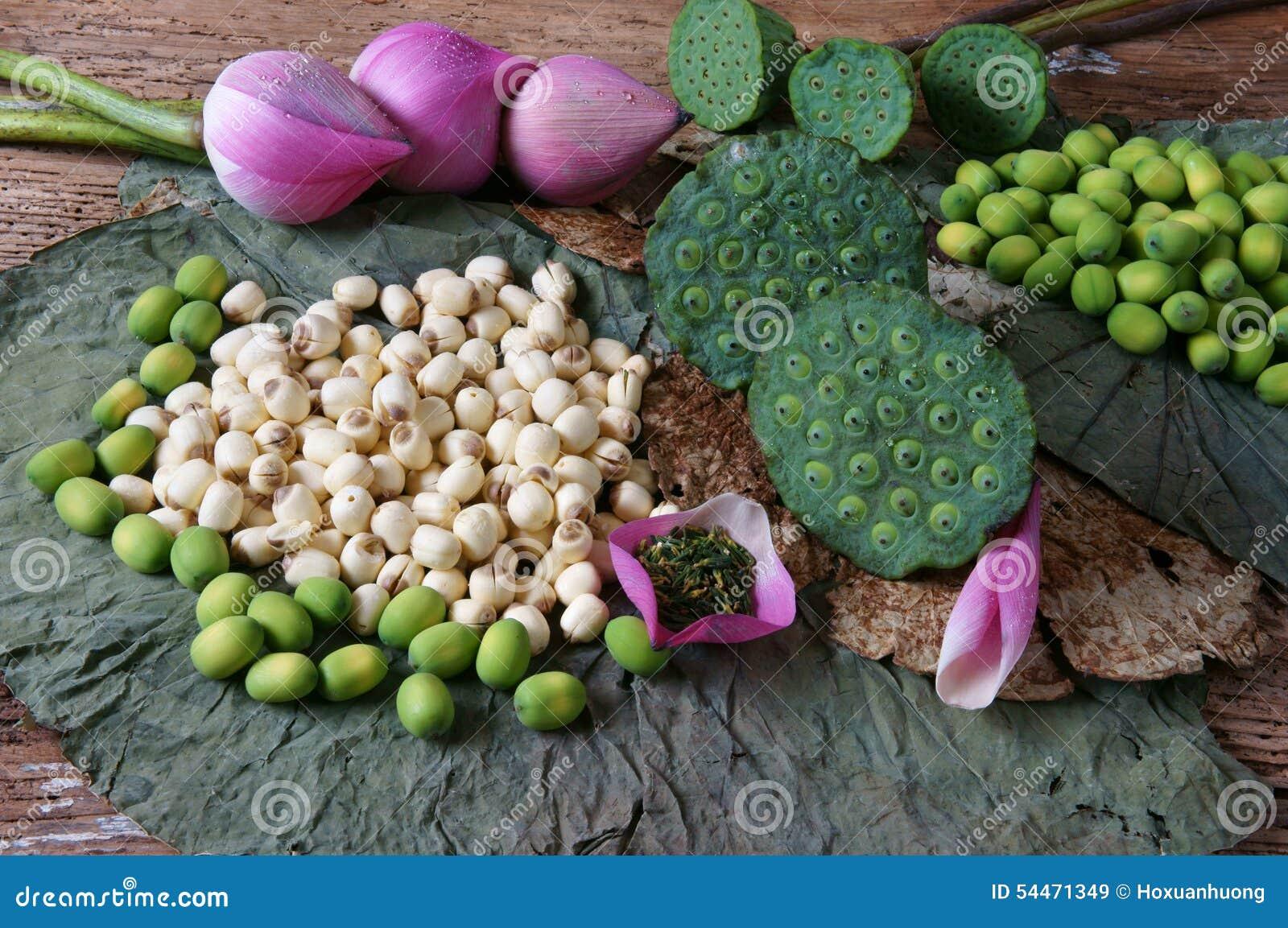 fleur de lotus de collection graine th nourriture saine photo stock image 54471349. Black Bedroom Furniture Sets. Home Design Ideas