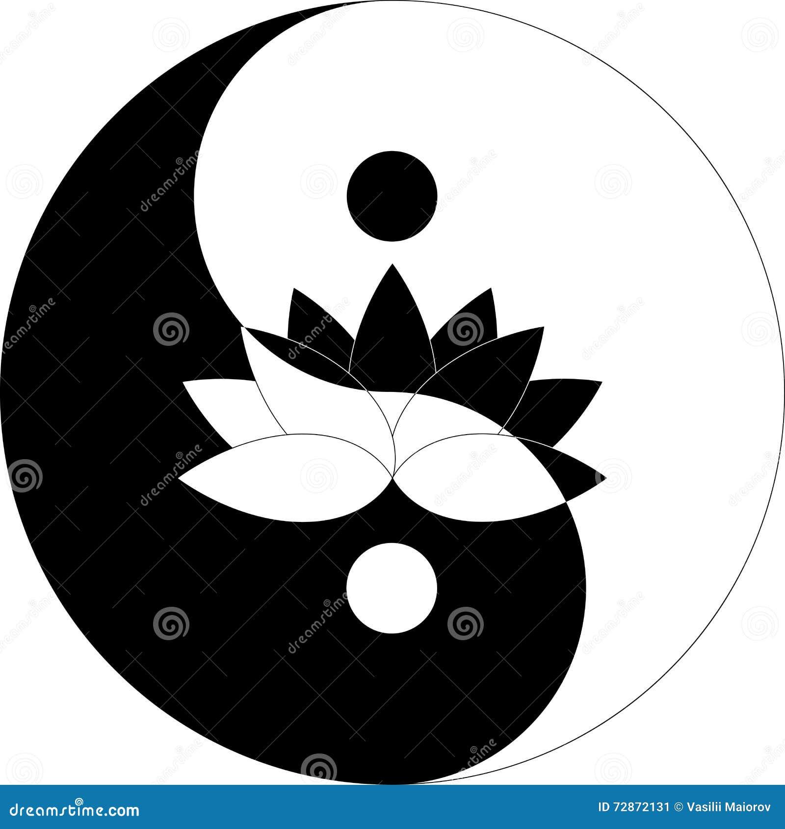 Fleur De Lotus En Symbole De Yin Yang Noir Et Blanc