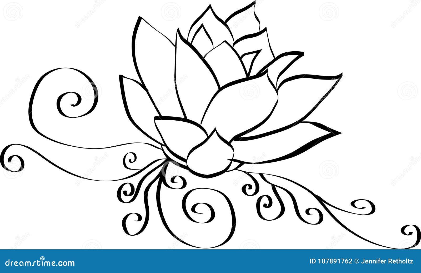 Fleur De Lotus Noire Et Blanche Illustration De Vecteur