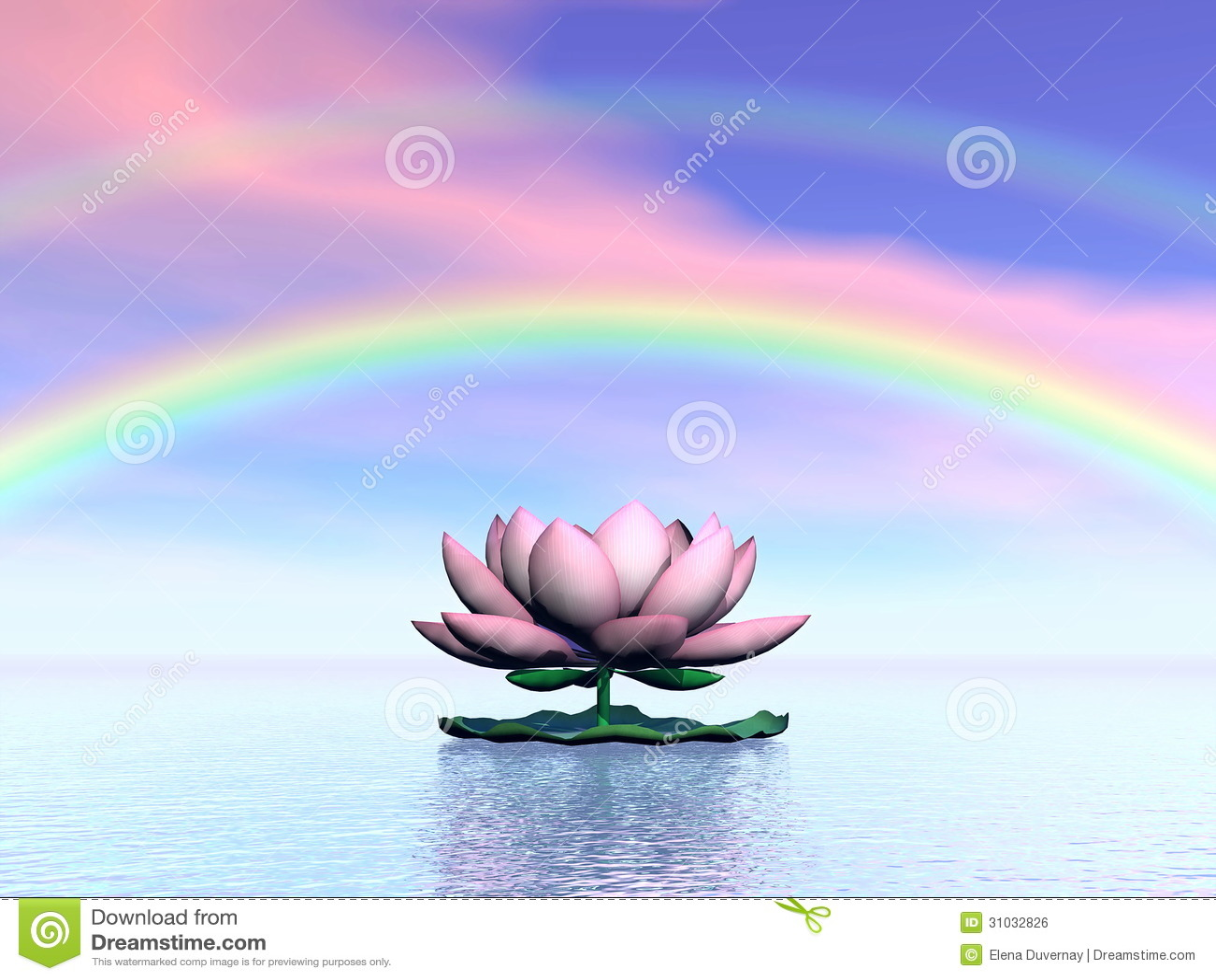 fleur de lotus sous l 39 arc en ciel 3d rendent image libre de droits image 31032826. Black Bedroom Furniture Sets. Home Design Ideas