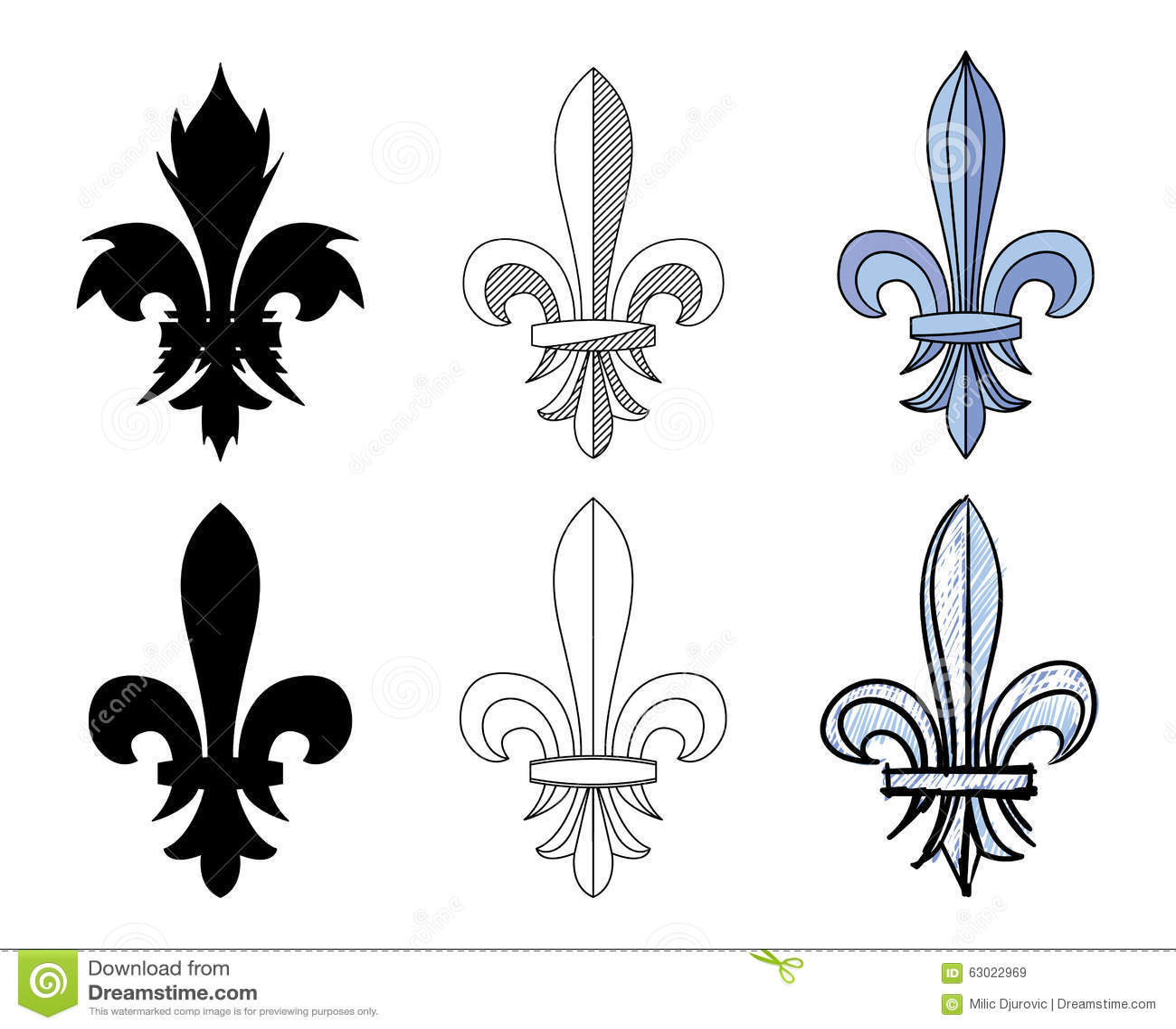 fleur de lys heraldic motif of lily flower set of different graphic presentations for design. Black Bedroom Furniture Sets. Home Design Ideas