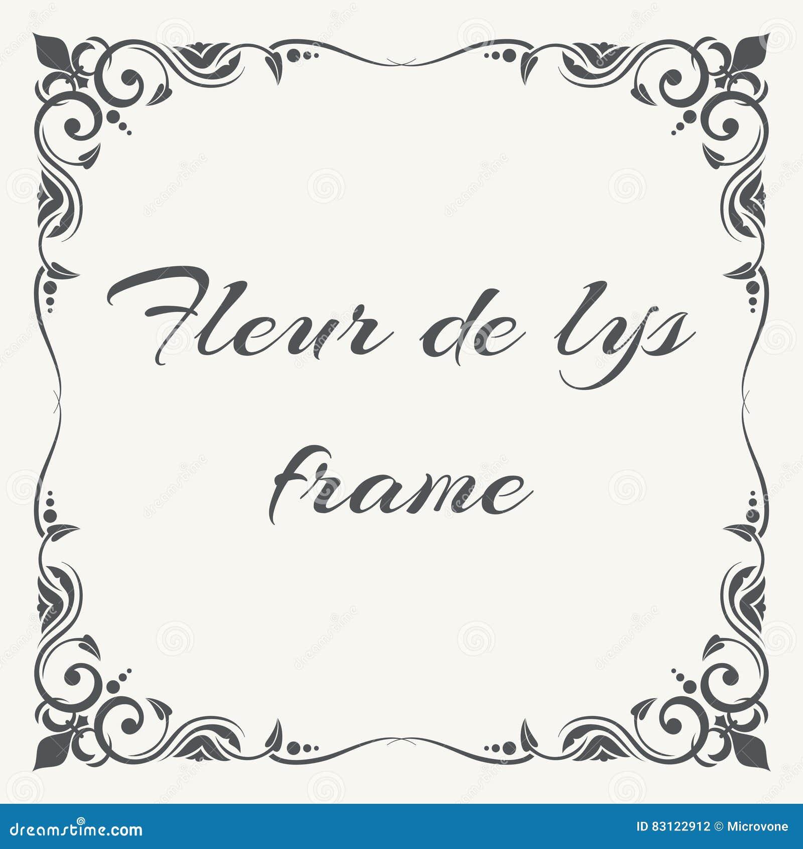 Fleur De Lys Ornate Frame White Background Stock Vector